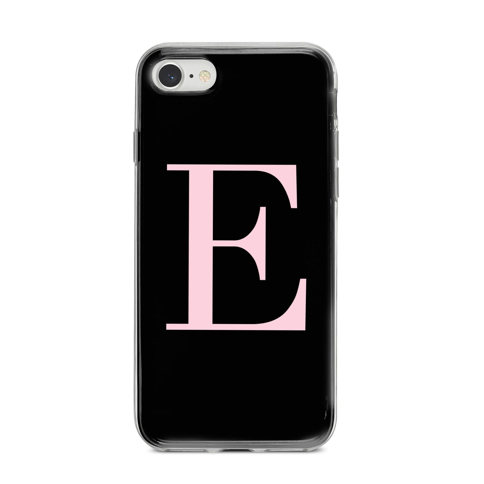 Black with Pink Personalised Monogram iPhone 8 Bumper Case on Silver iPhone