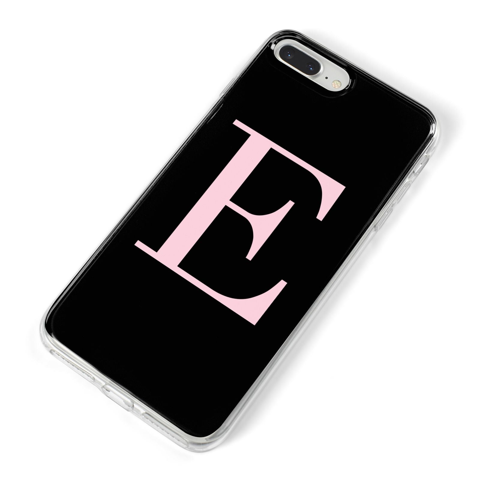 Black with Pink Personalised Monogram iPhone 8 Plus Bumper Case on Silver iPhone Alternative Image