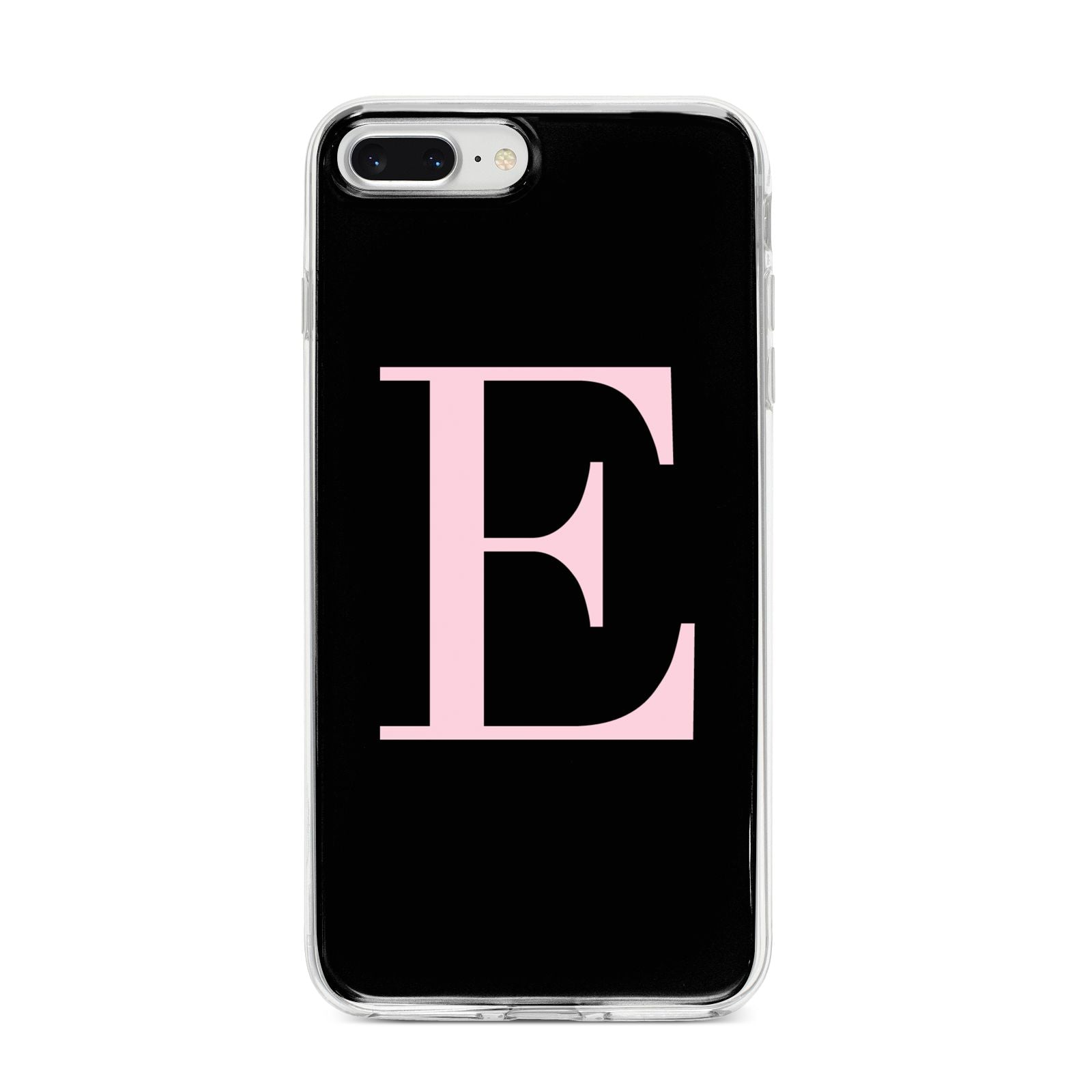 Black with Pink Personalised Monogram iPhone 8 Plus Bumper Case on Silver iPhone