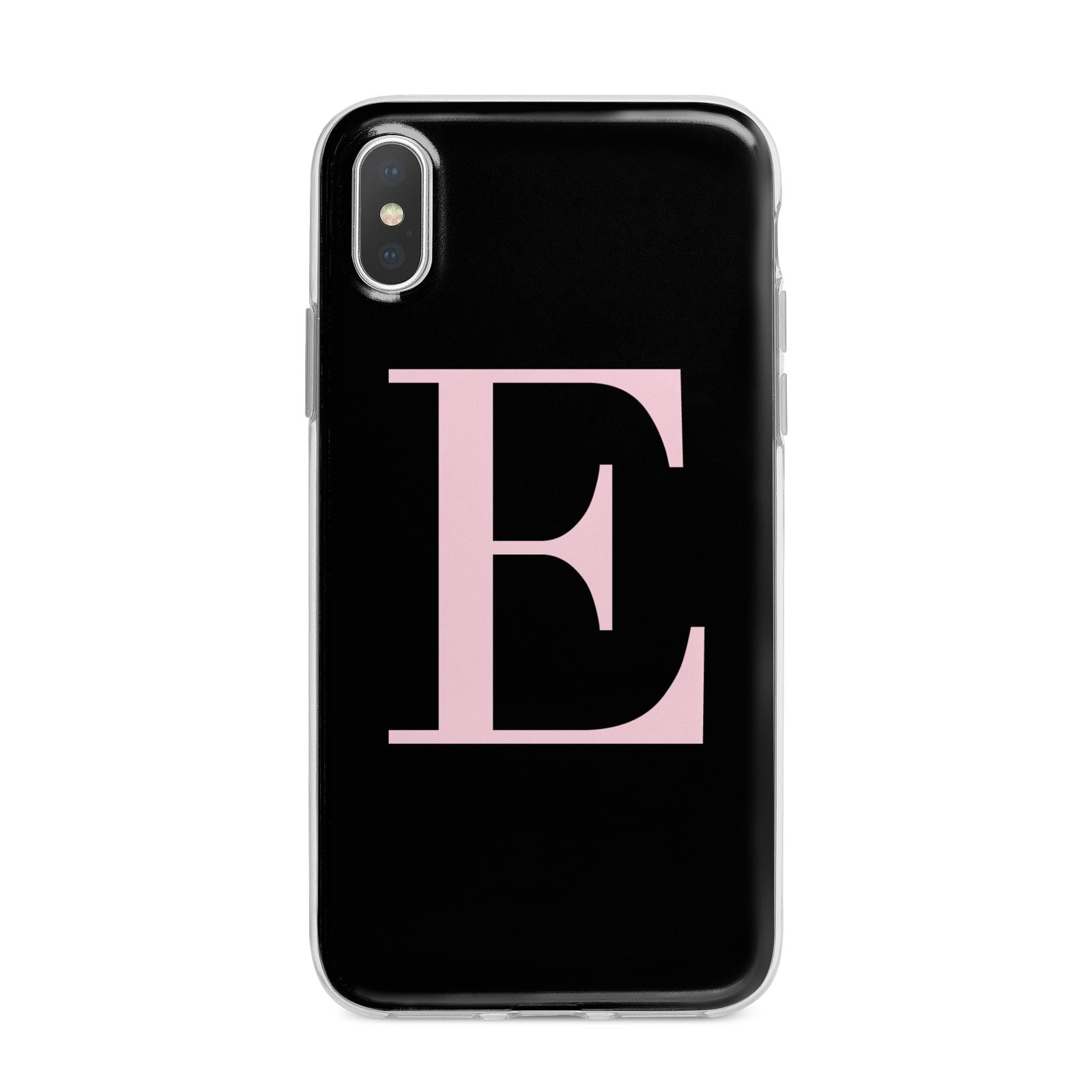 Black with Pink Personalised Monogram iPhone X Bumper Case on Silver iPhone Alternative Image 1