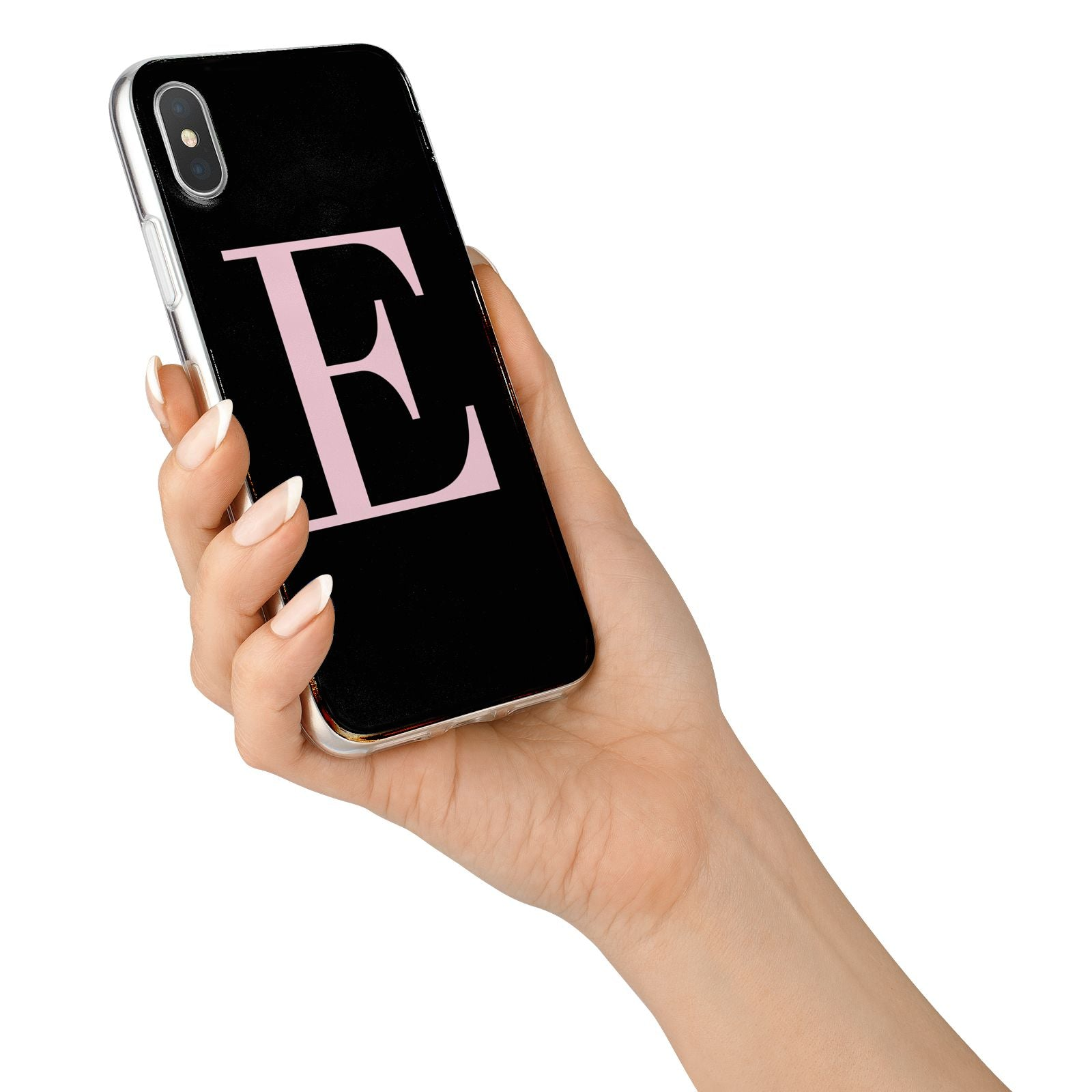 Black with Pink Personalised Monogram iPhone X Bumper Case on Silver iPhone Alternative Image 2