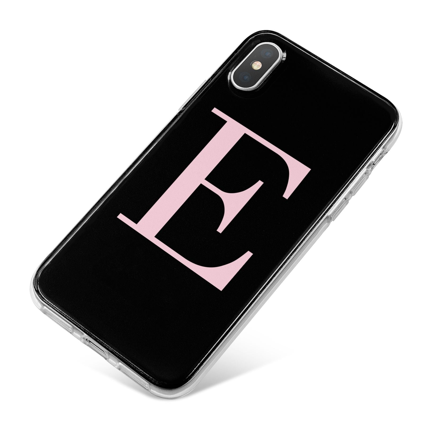 Black with Pink Personalised Monogram iPhone X Bumper Case on Silver iPhone