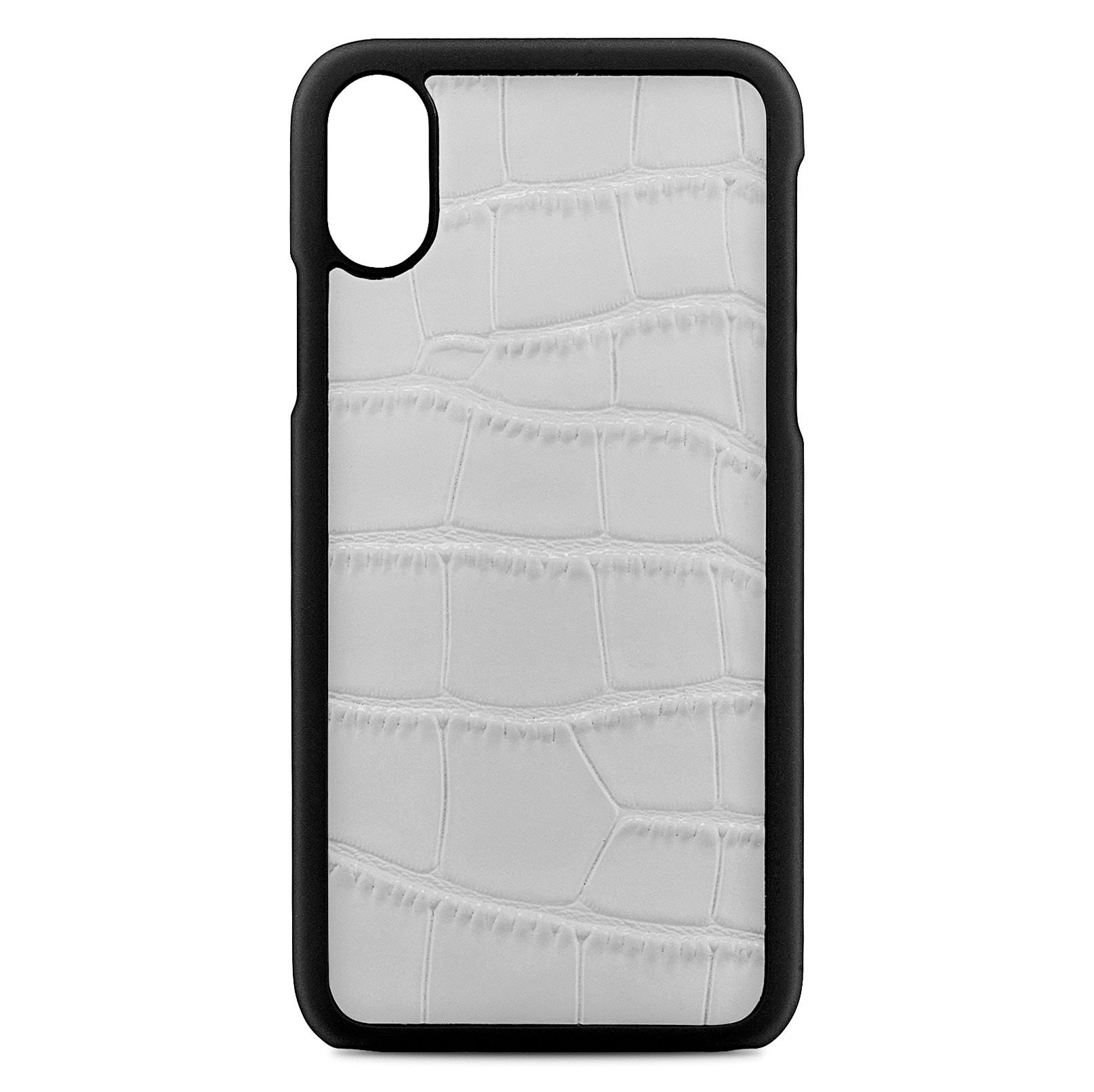 Blank Personalised Grey Croc Leather iPhone X Case