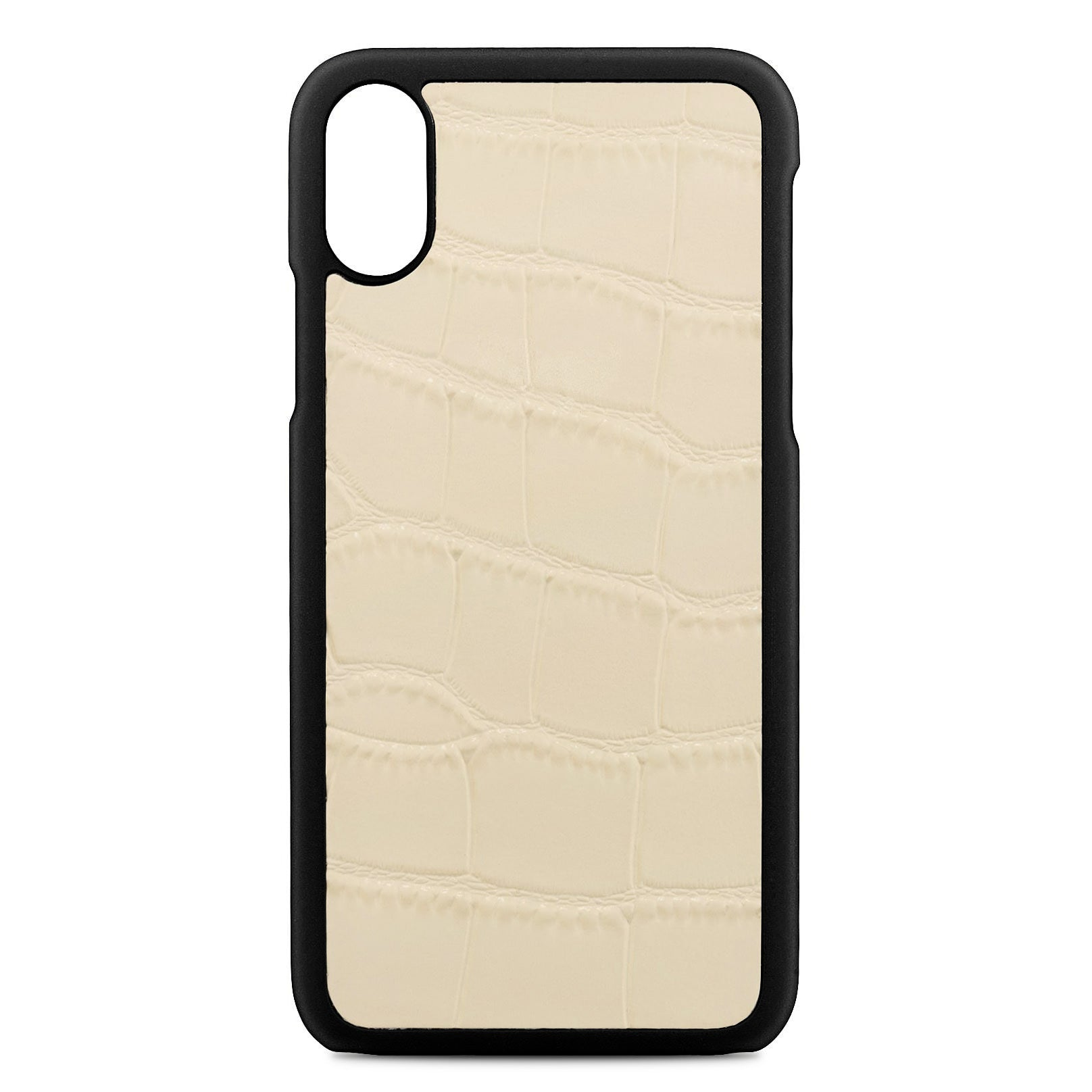 Blank Personalised Ivory Croc Leather iPhone X Case