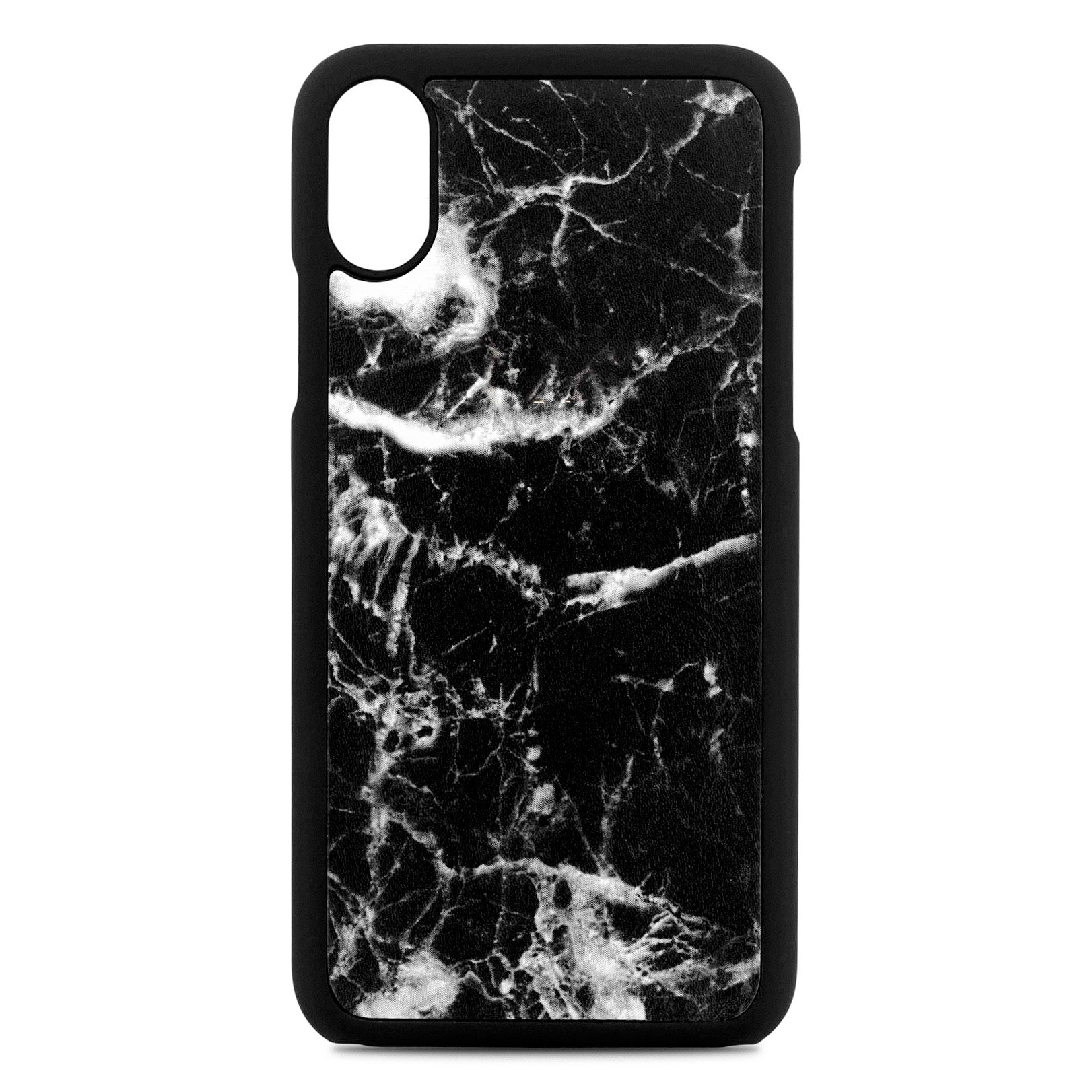 Blank Personalised Black Marble Leather iPhone X Case
