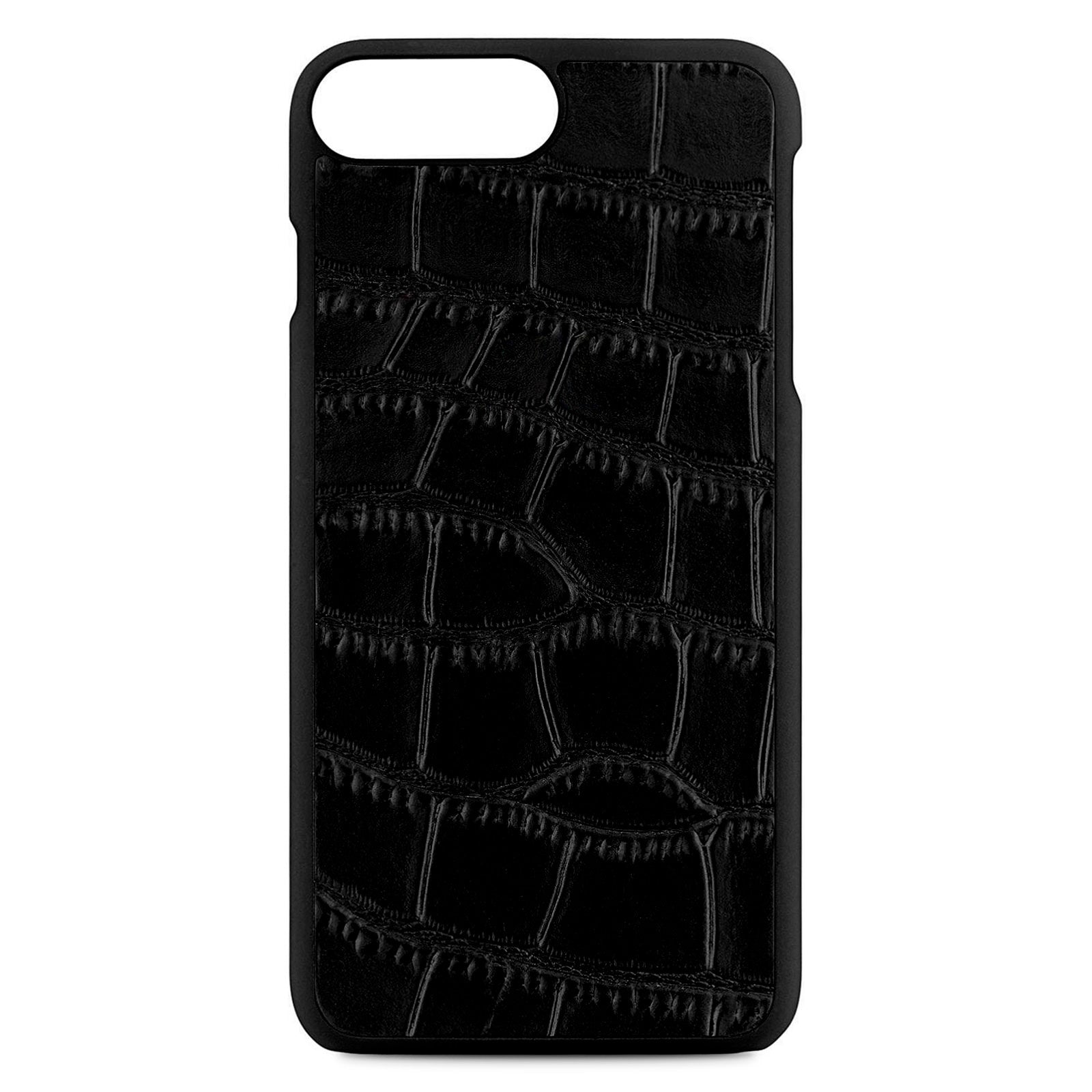 Blank Personalised Black Croc Leather iPhone 8 Plus Case