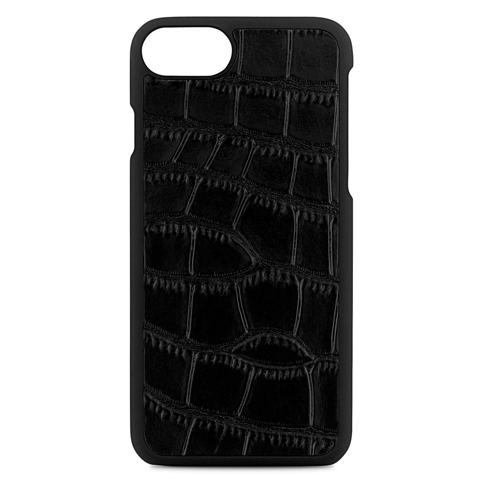 Blank Personalised Black Croc Leather iPhone Case