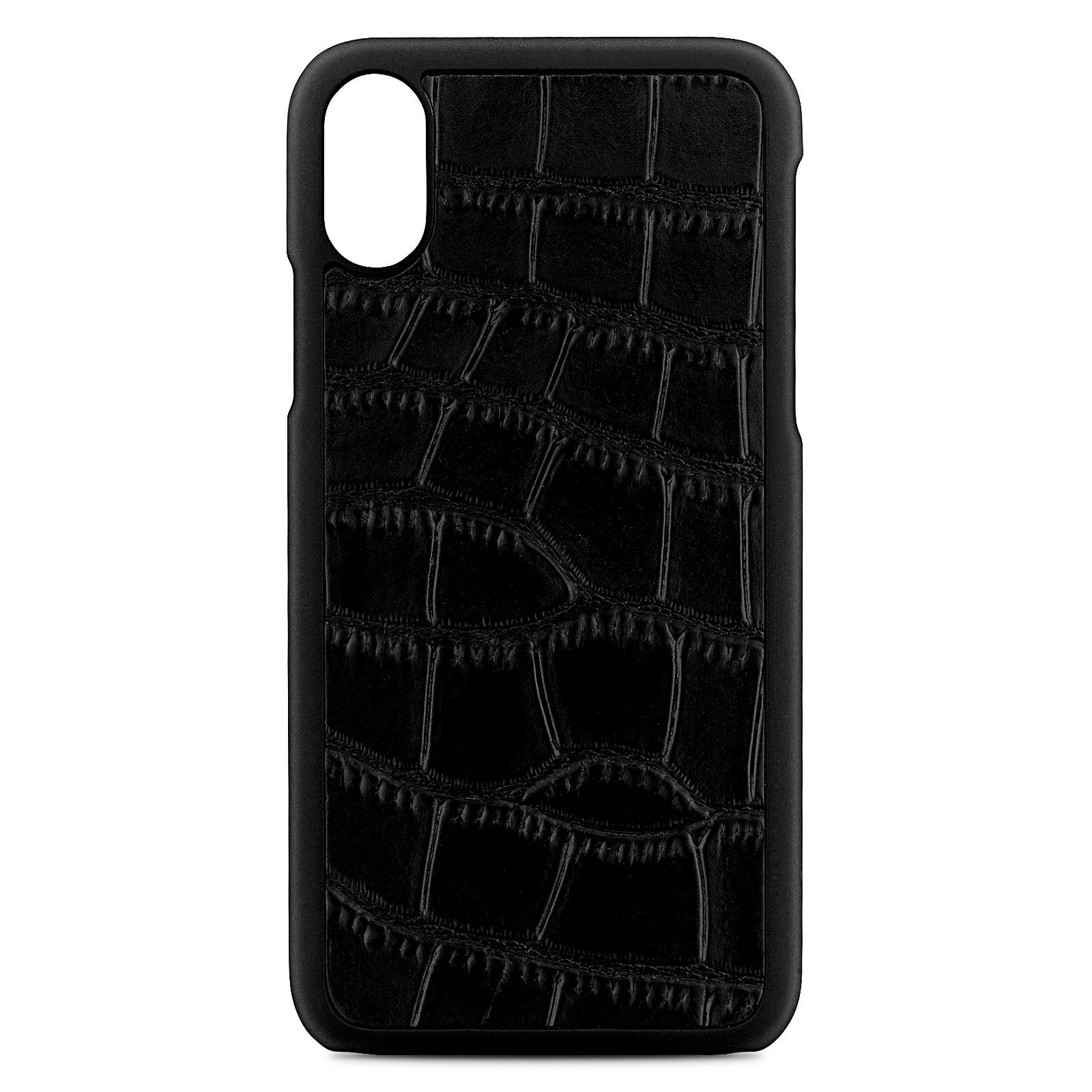 Blank Personalised Black Croc Leather iPhone X Case