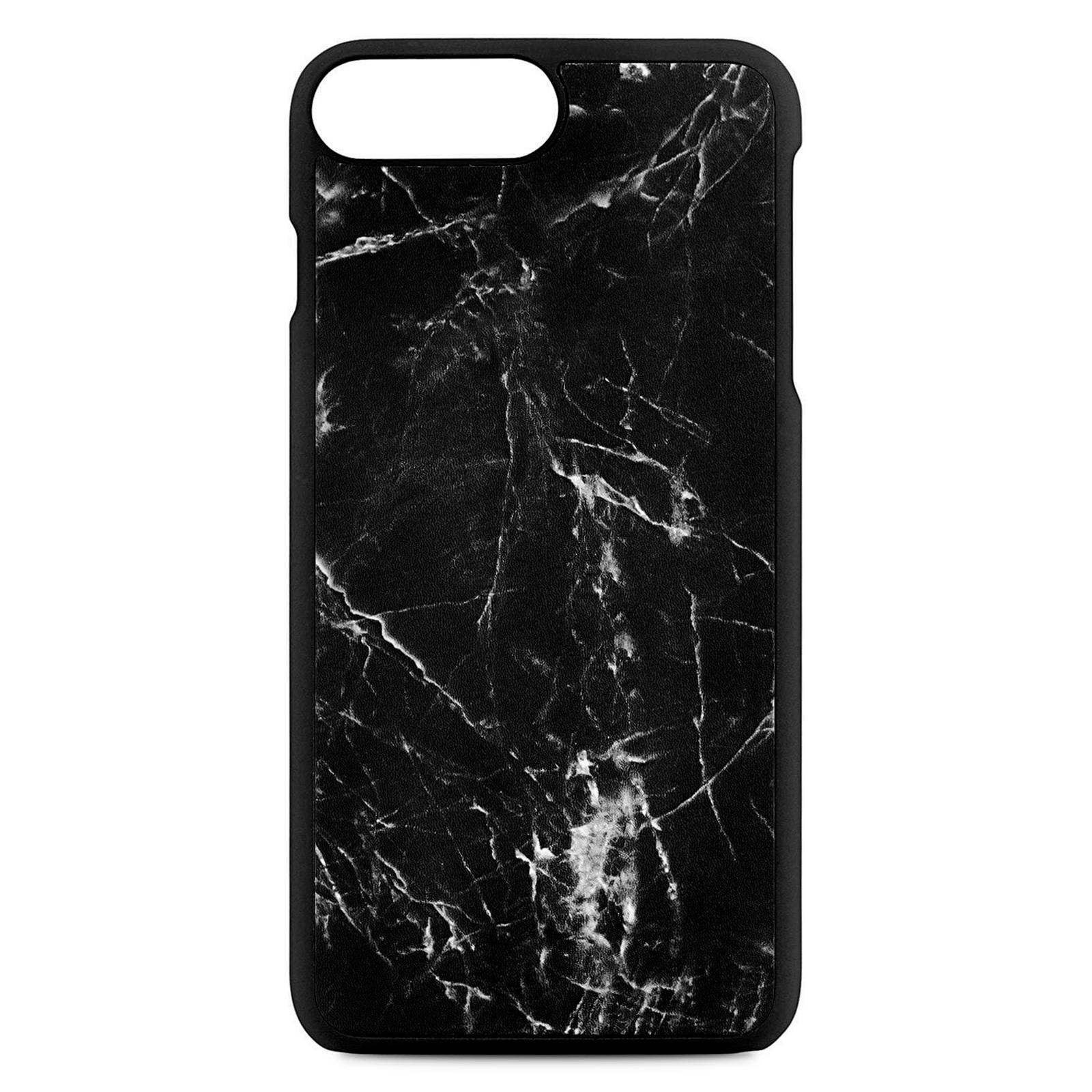 Blank Personalised Black Marble Leather iPhone 8 Plus Case