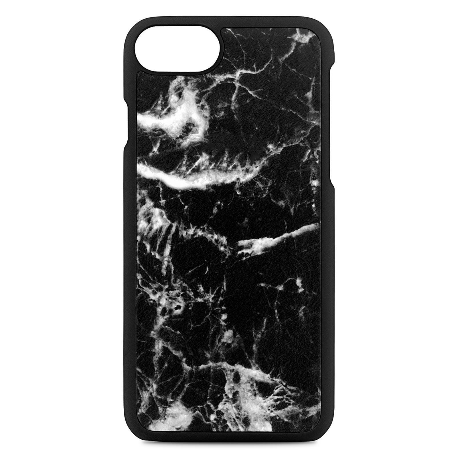 Blank Personalised Black Marble Leather iPhone Case