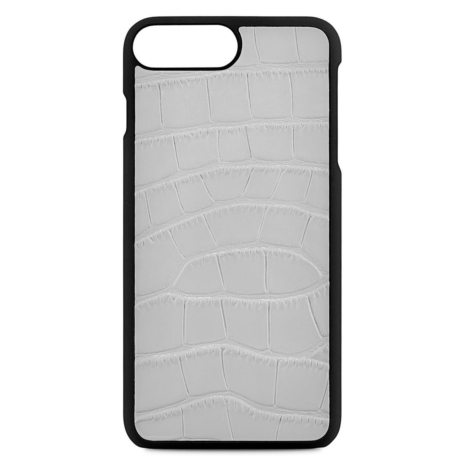 Blank Personalised Grey Croc Leather iPhone 8 Plus Case