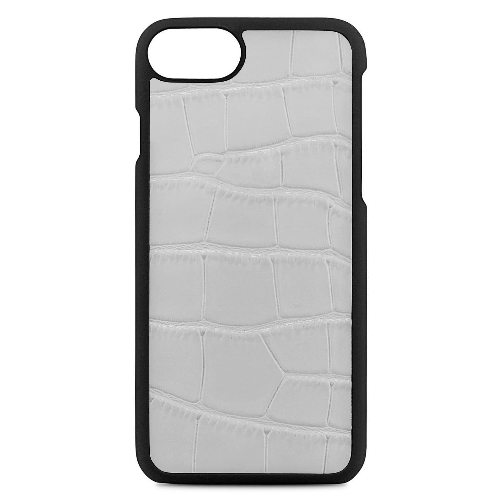 Blank Personalised Grey Croc Leather iPhone Case