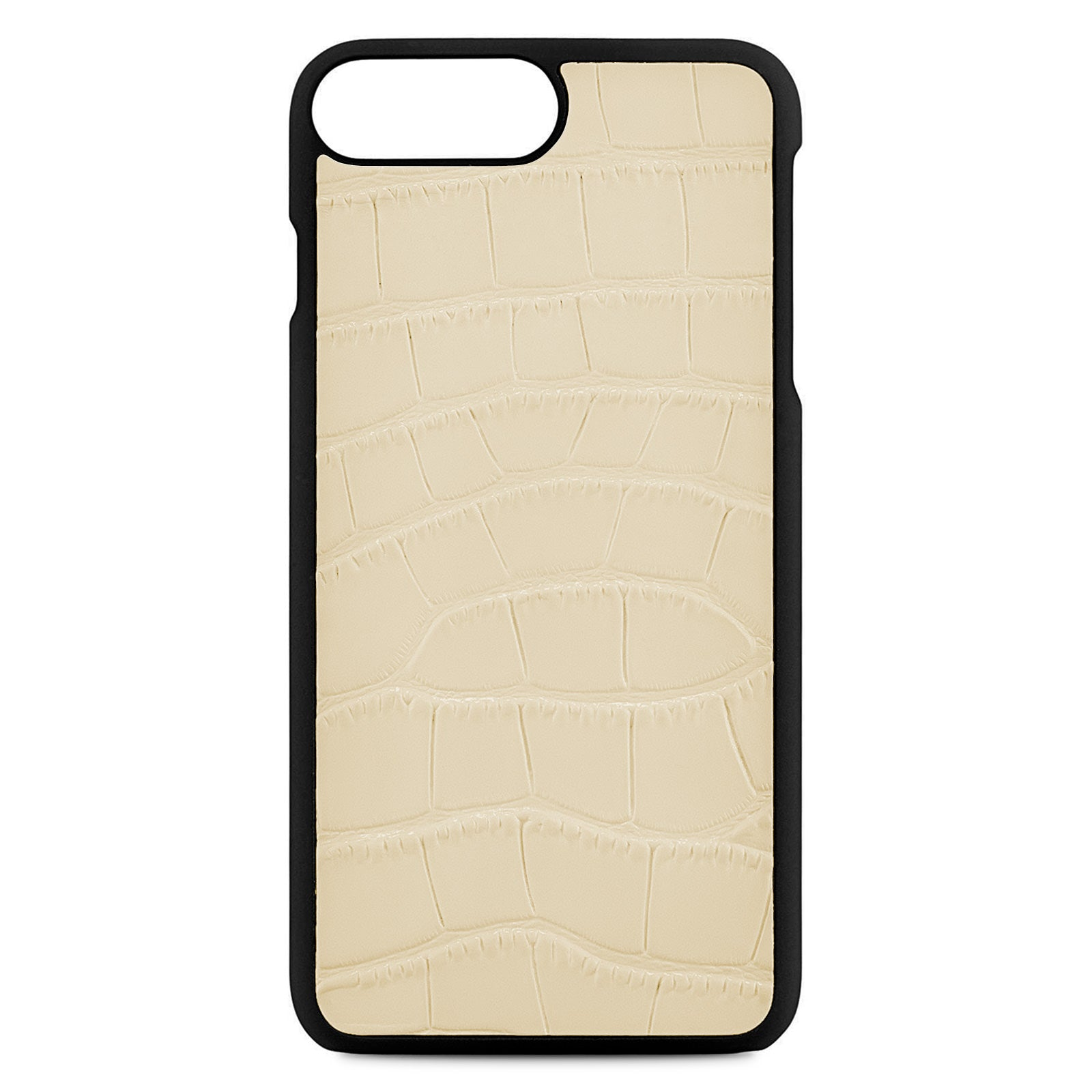 Blank Personalised Ivory Croc Leather iPhone 8 Plus Case