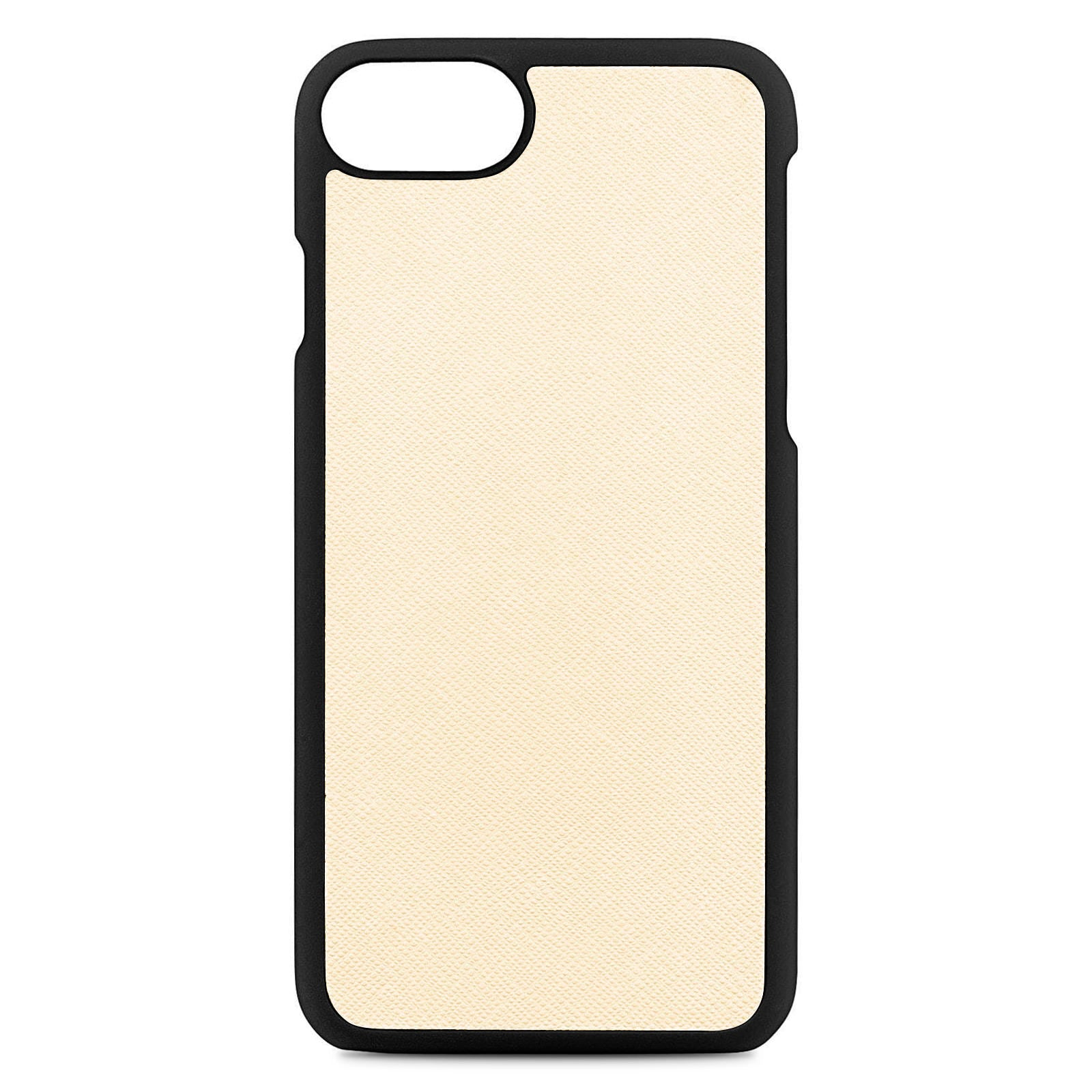 Blank Personalised Ivory Saffiano Leather iPhone Case