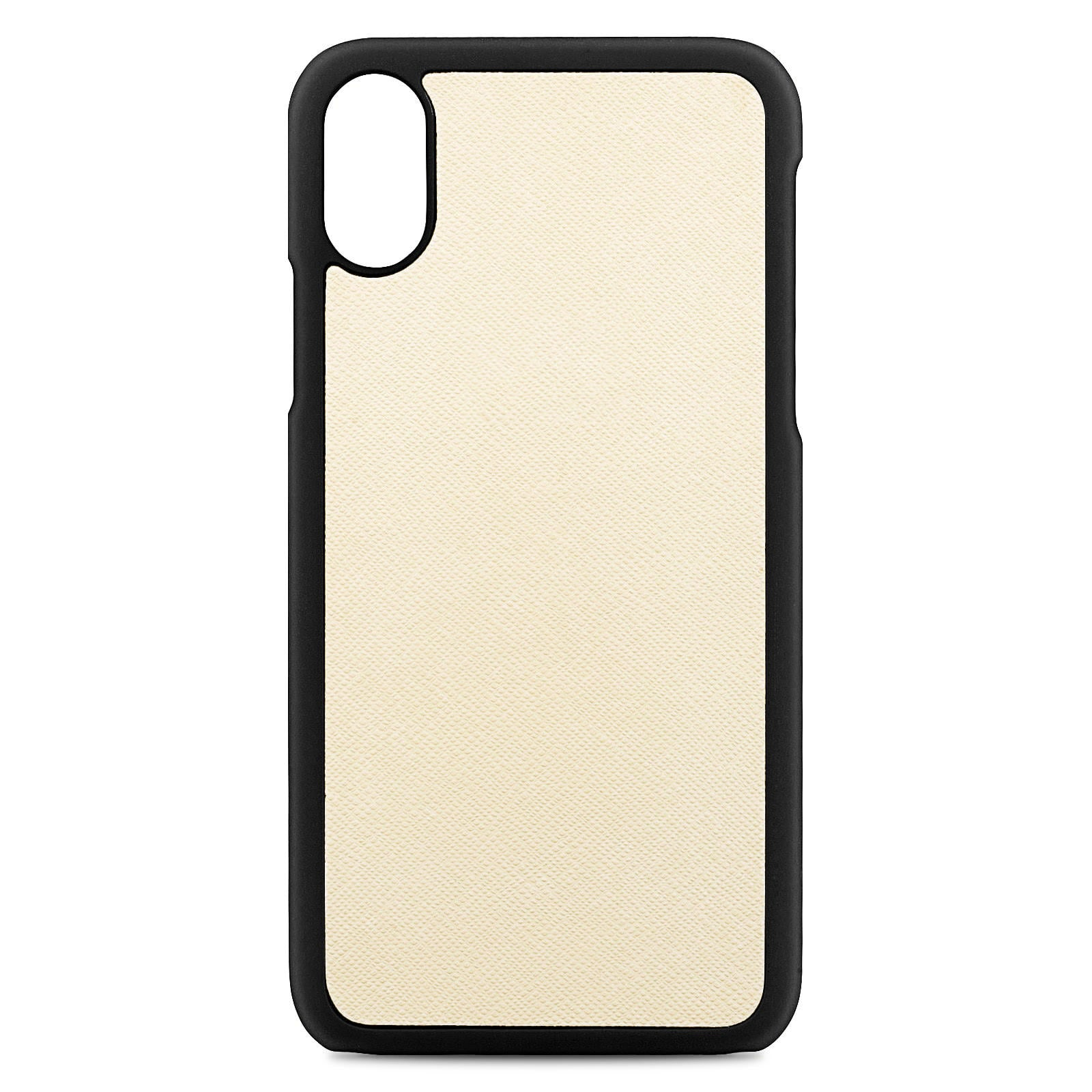 Blank Personalised Ivory Saffiano Leather iPhone X Case