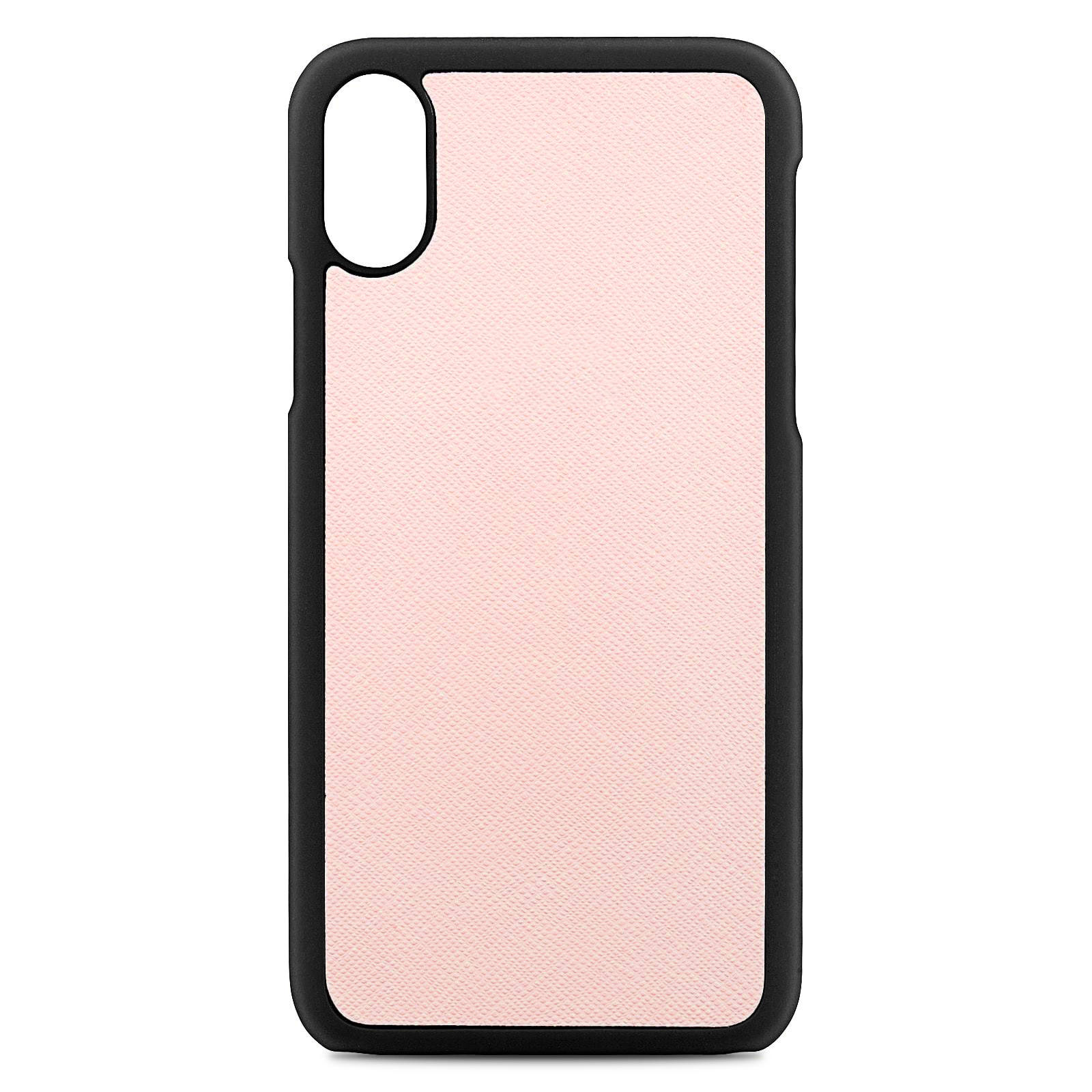 Blank Personalised Pink Saffiano Leather iPhone X Case