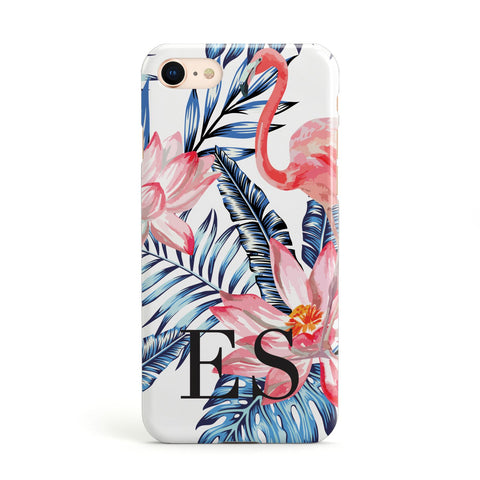 Blue Leaves & Pink Flamingos Apple iPhone Case