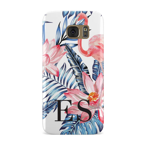 Blue Leaves & Pink Flamingos Samsung Galaxy Case