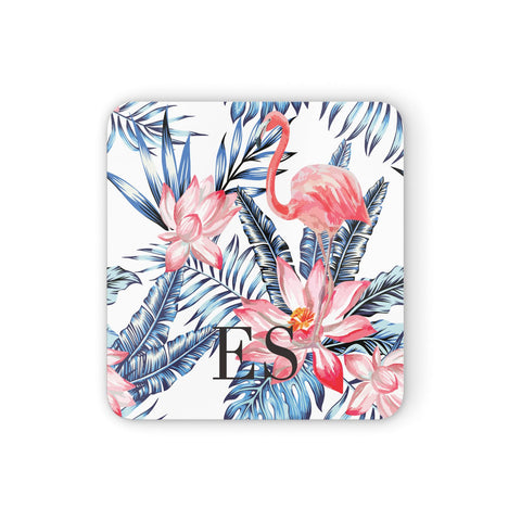 Blue Leaves & Pink Flamingos Coasters set of 4