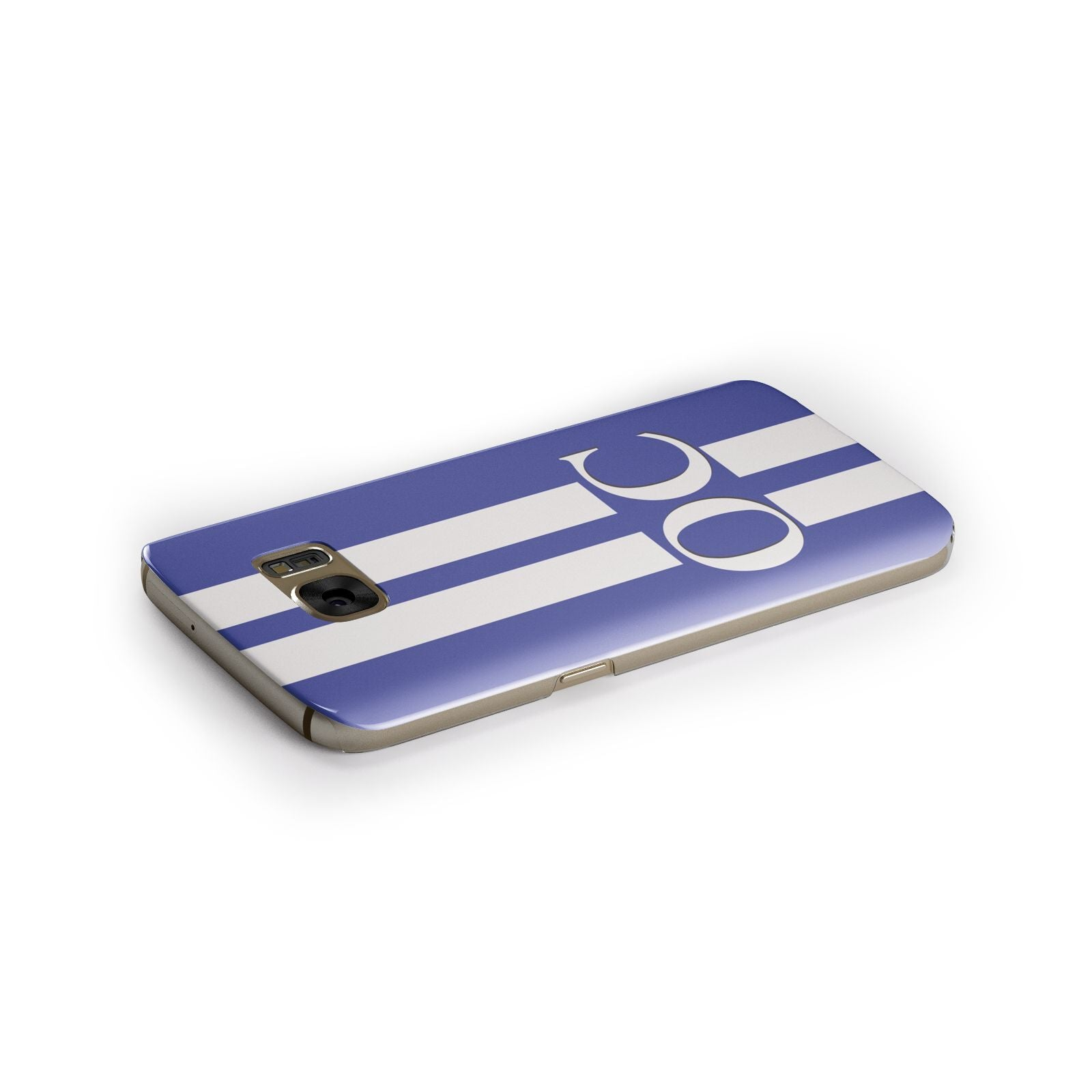 Blue Personalised Initials Samsung Galaxy Case Side Close Up