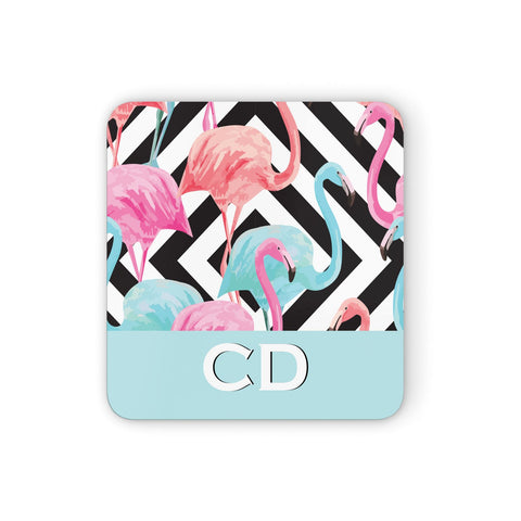Blue & Pink Flamingos Coasters set of 4