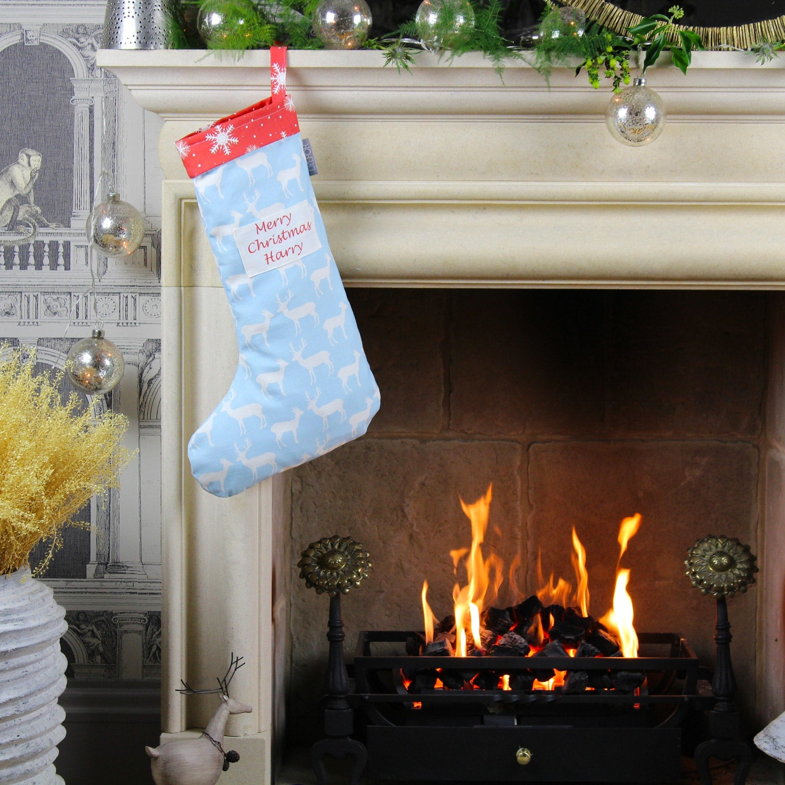 Personalised Blue Reindeer Christmas Stocking