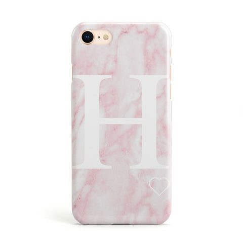Blush Marble Custom Initial Personalised Apple iPhone Case