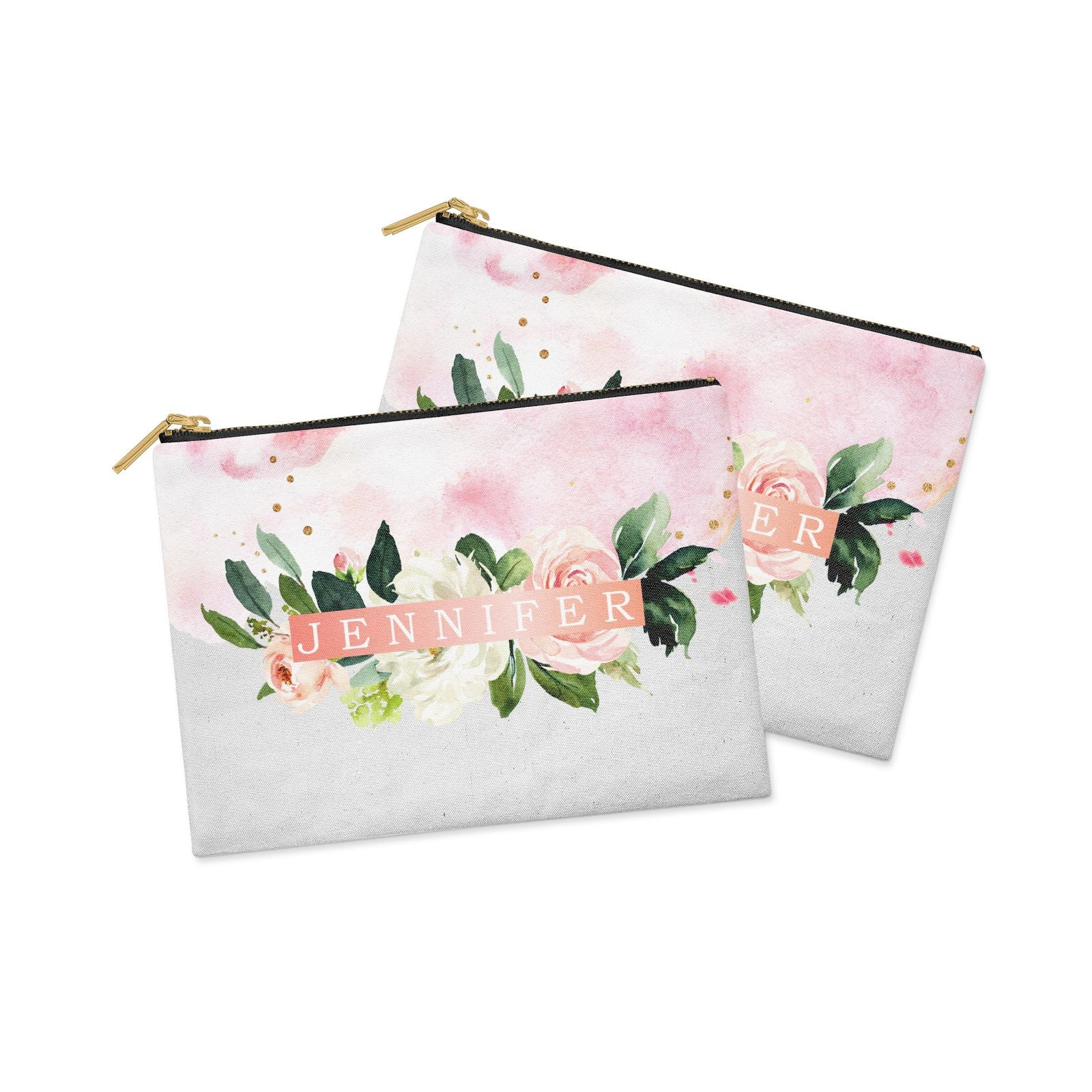 Blush Pink Personalised Name Floral Clutch Bag Zipper Pouch Alternative View