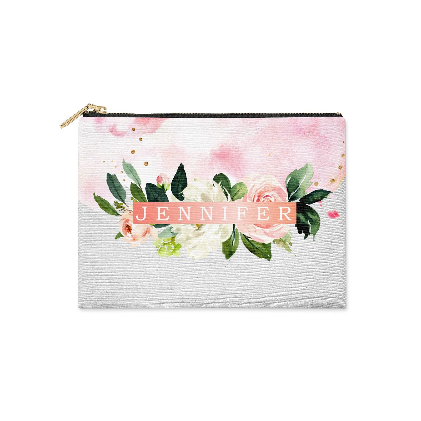 Blush Pink Personalised Name Floral Clutch Bag Zipper Pouch