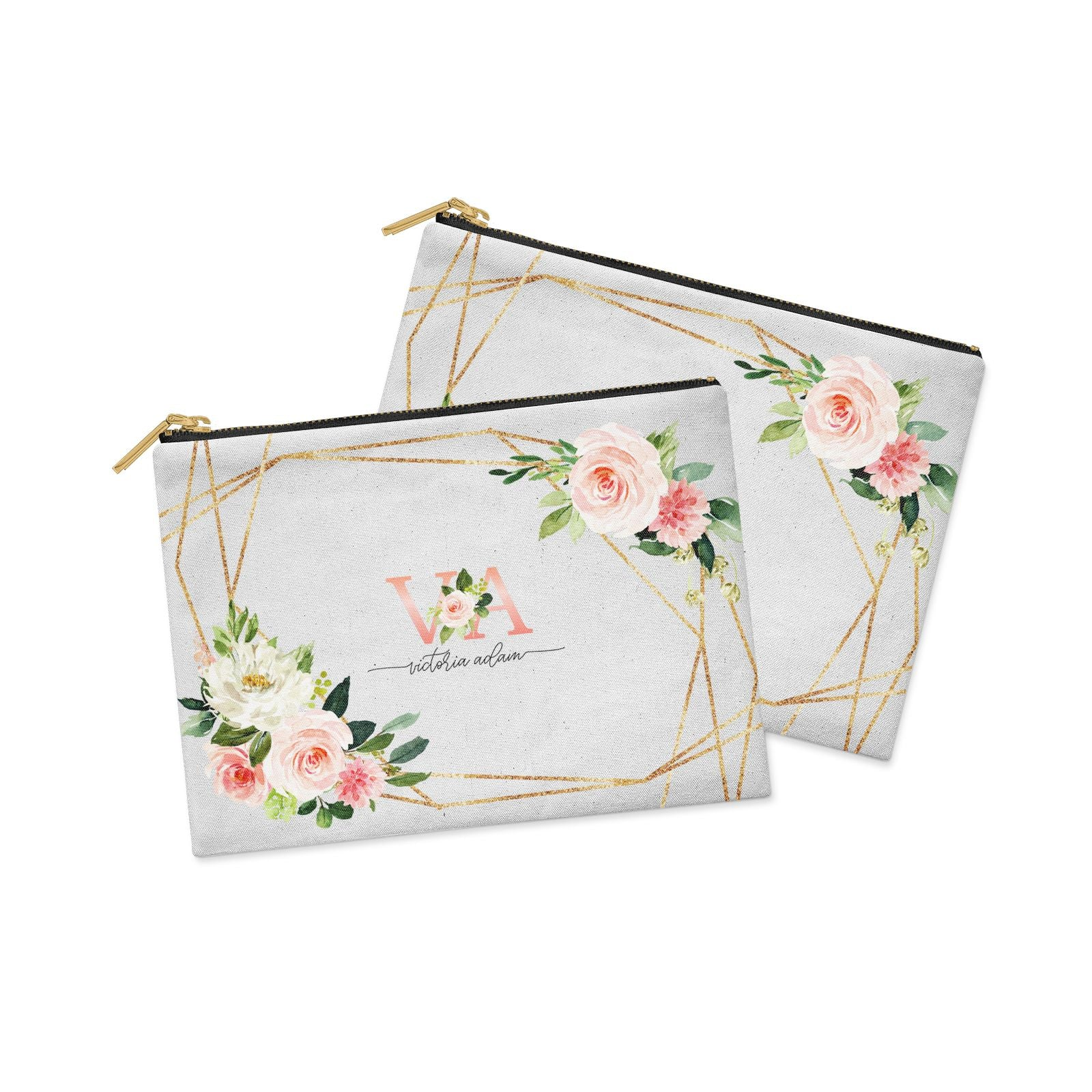Blush Pink Rose Floral Personalised Clutch Bag Zipper Pouch Alternative View