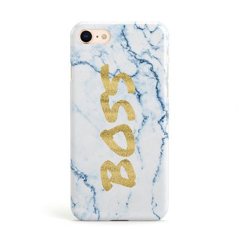 Boss Gold & Blue Marble Effect Apple iPhone Case
