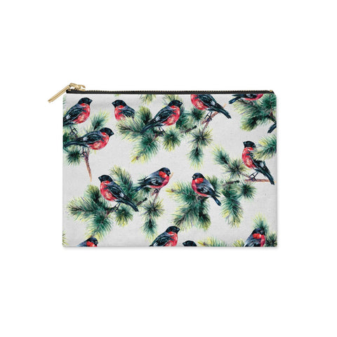 Bullfinch & Pine Tree Clutch Bag