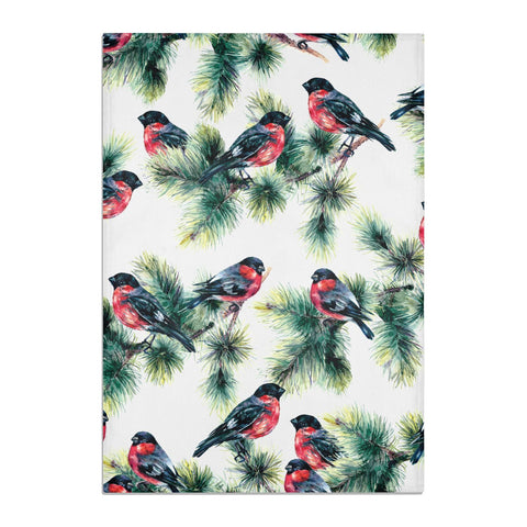 Bullfinch & Pine Tree Tea Towel