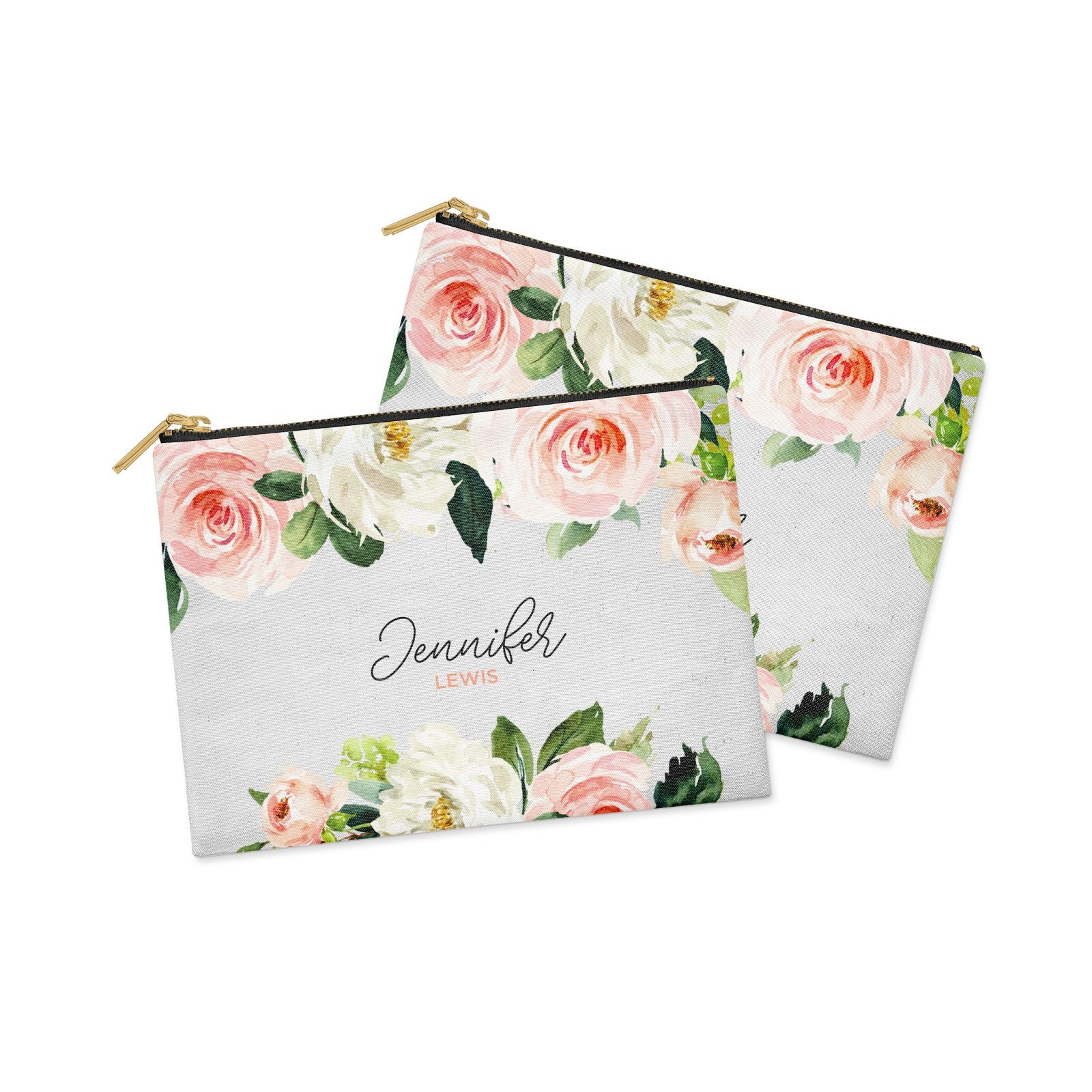 Bunches of Roses Personalised Names Clutch Bag Zipper Pouch Alternative View