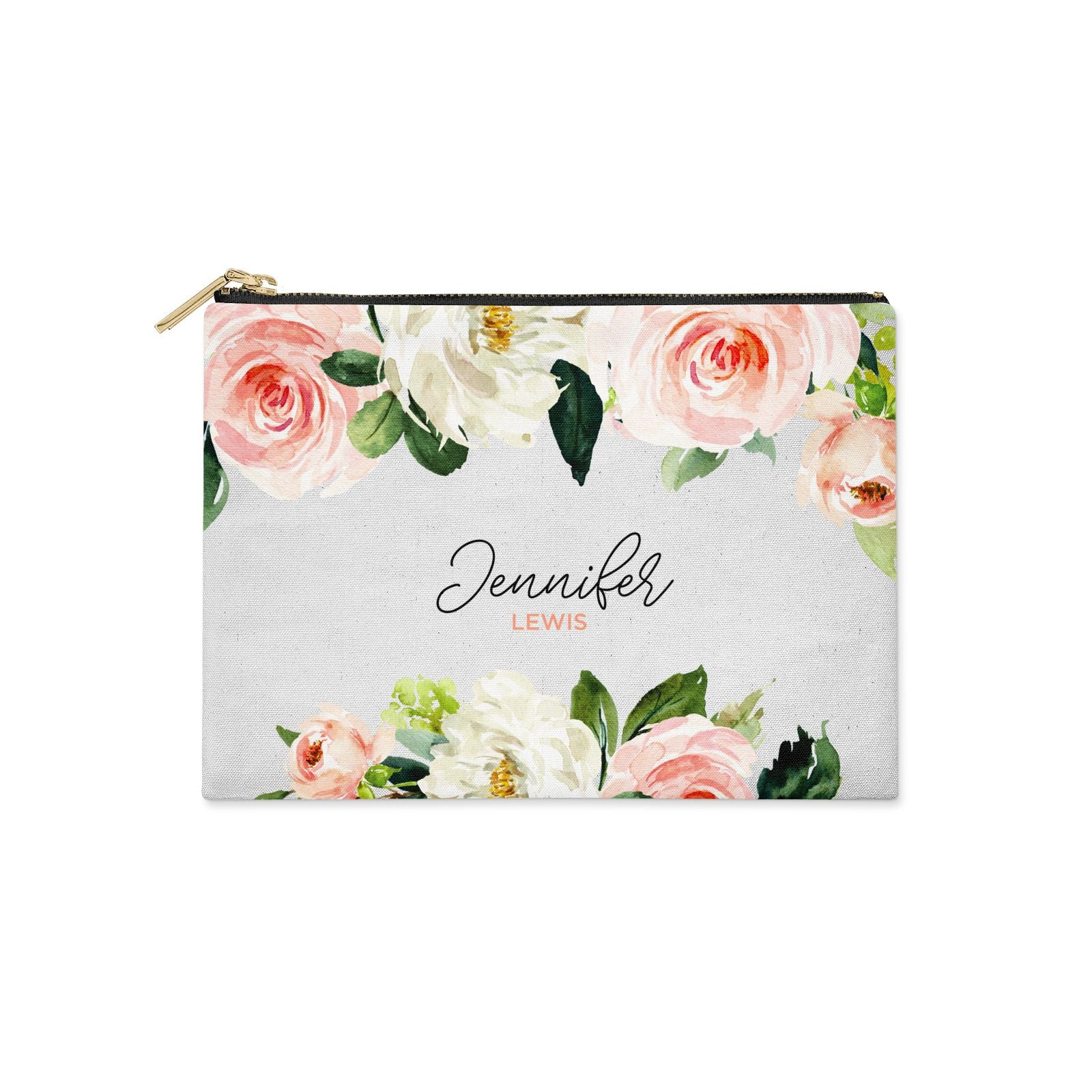 Bunches of Roses Personalised Names Clutch Bag Zipper Pouch