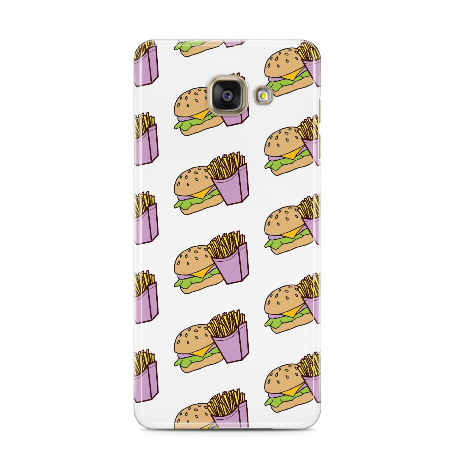 Burger Fries Fast Food Samsung Galaxy A3 2016 Case on gold phone