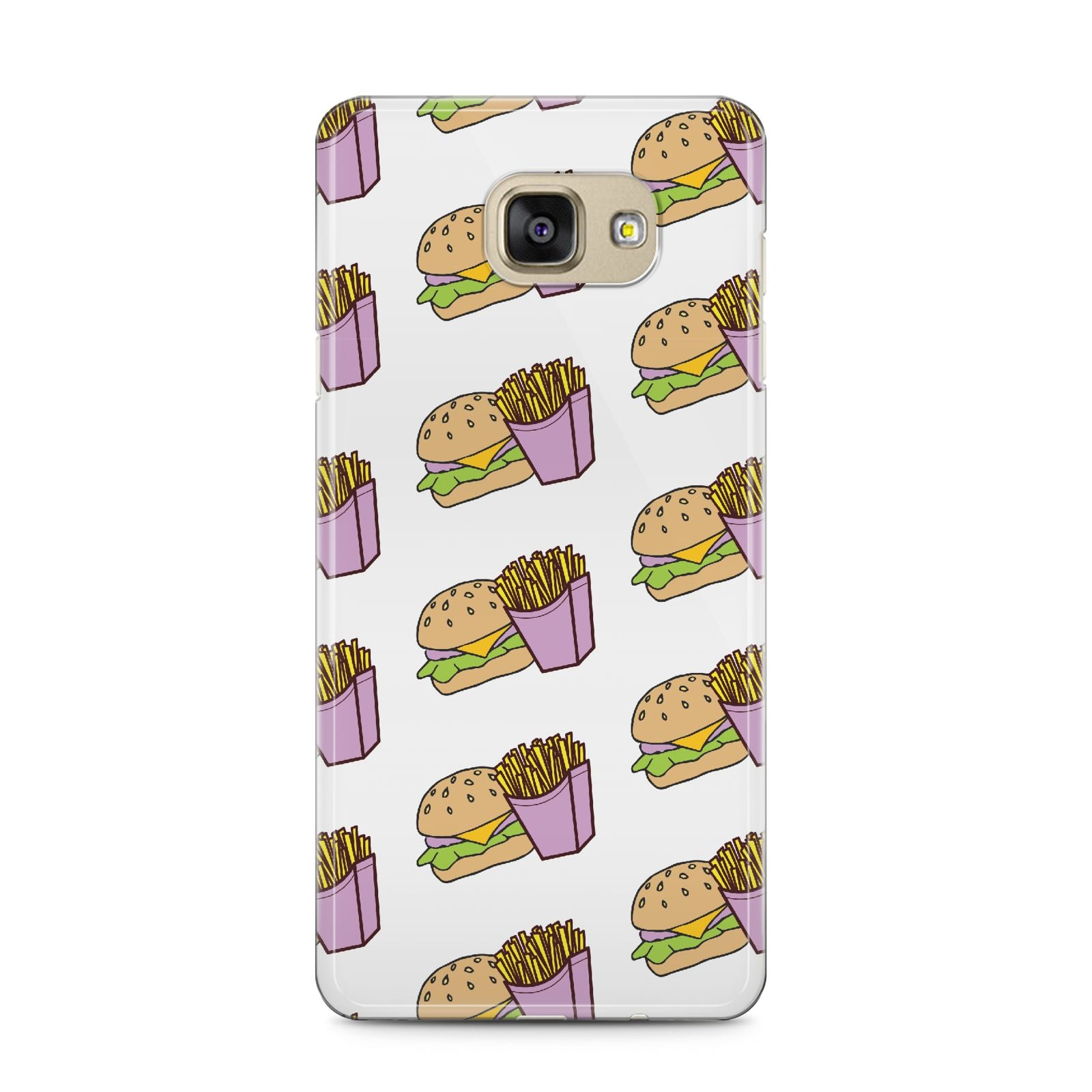 Burger Fries Fast Food Samsung Galaxy A5 2016 Case on gold phone