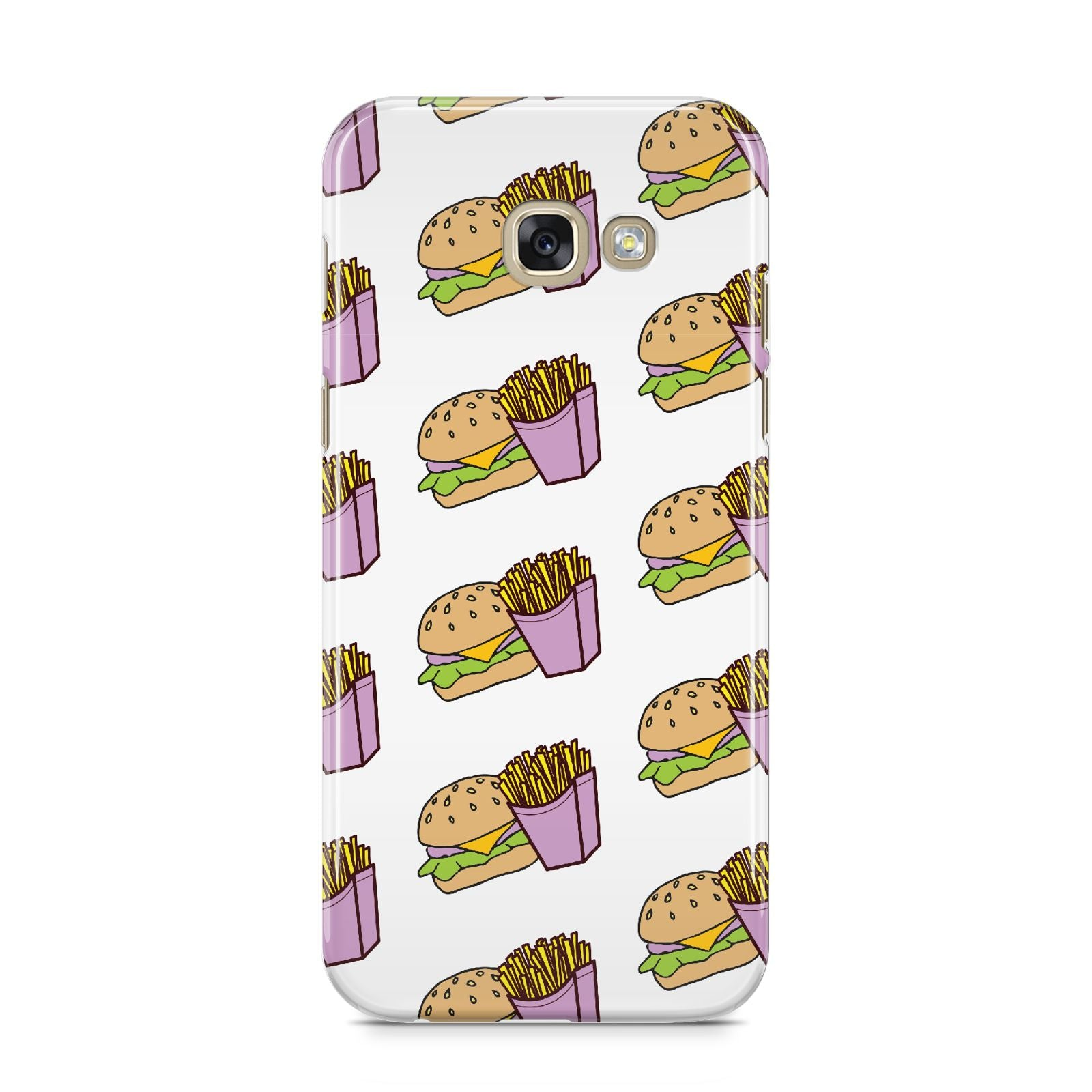 Burger Fries Fast Food Samsung Galaxy A5 2017 Case on gold phone