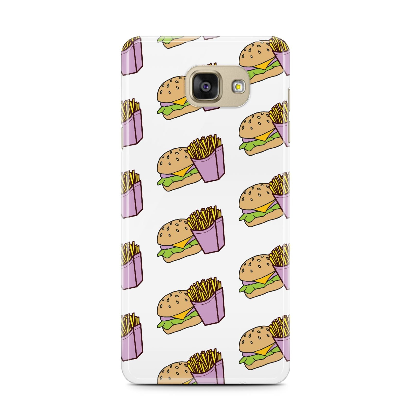Burger Fries Fast Food Samsung Galaxy A7 2016 Case on gold phone