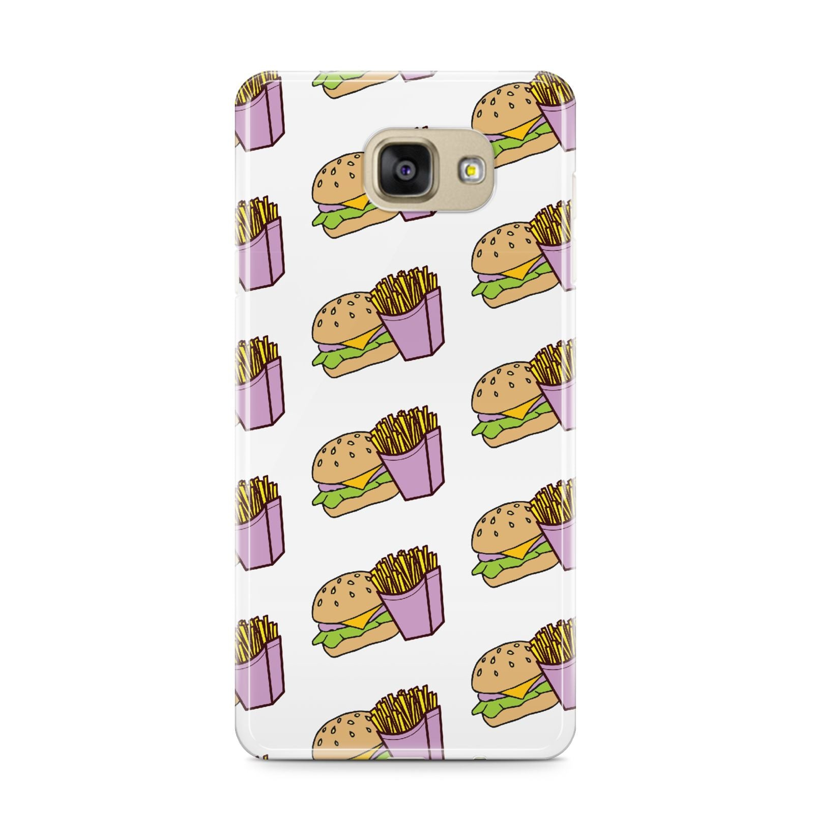 Burger Fries Fast Food Samsung Galaxy A9 2016 Case on gold phone