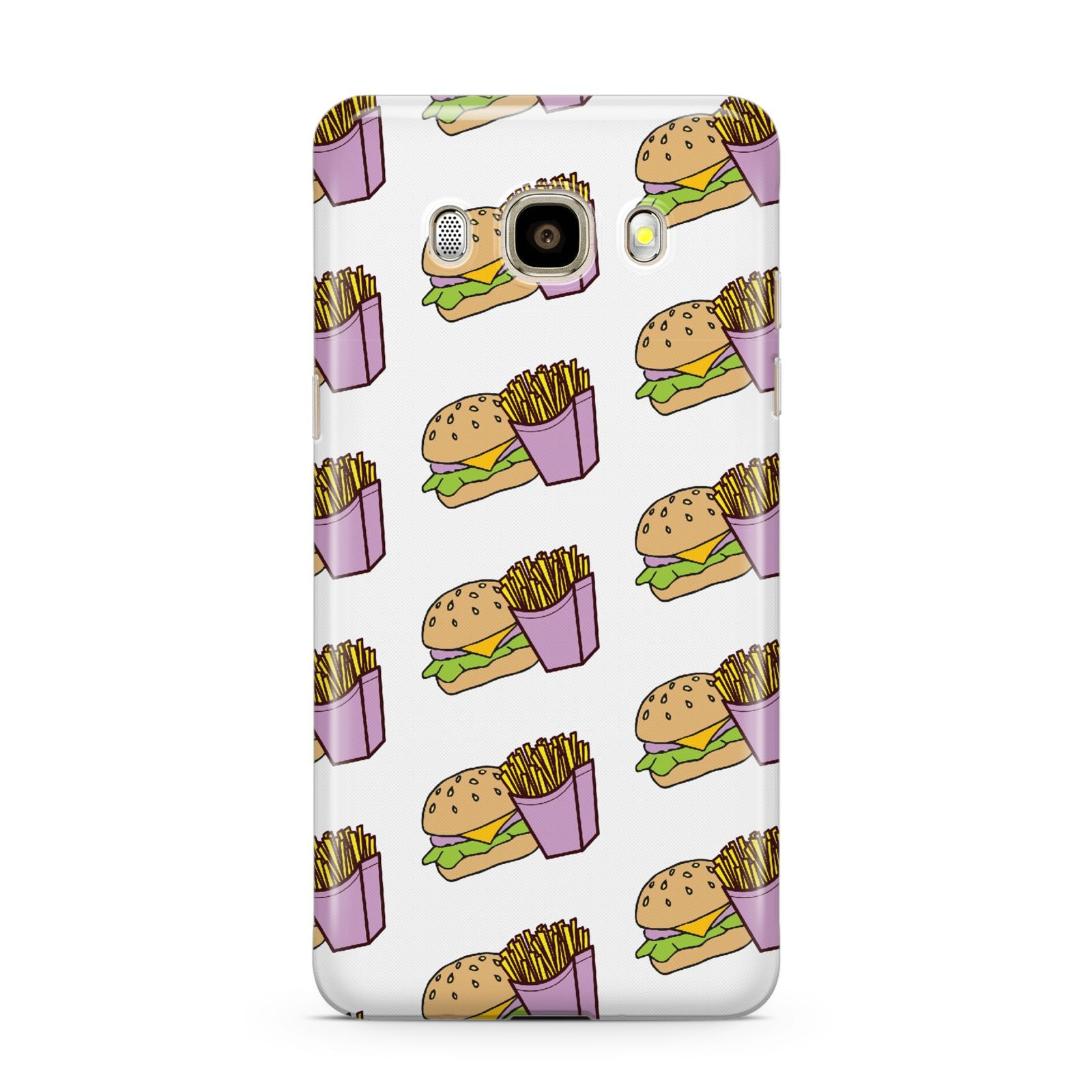 Burger Fries Fast Food Samsung Galaxy J7 2016 Case on gold phone