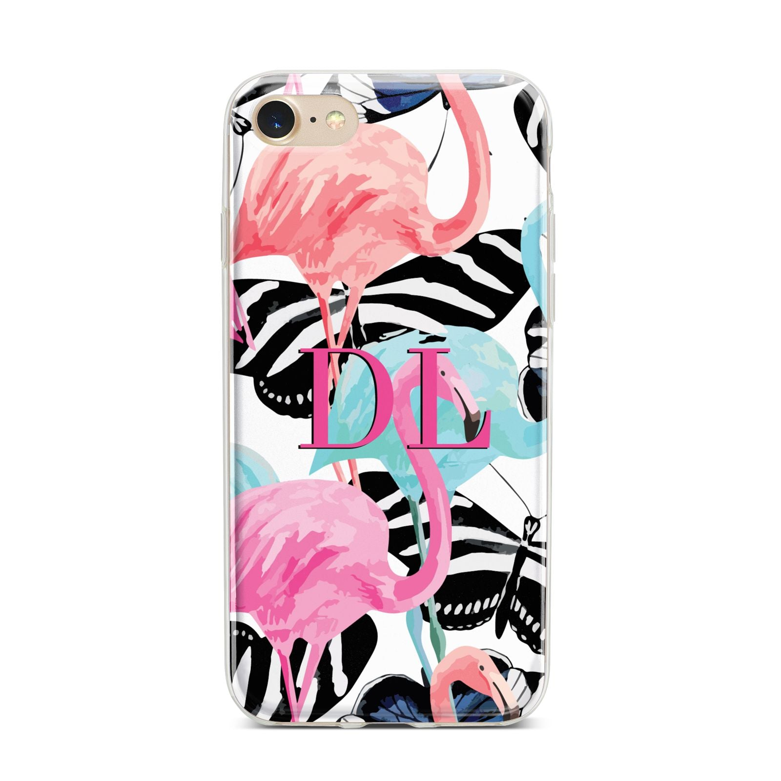 Butterflies Flamingos iPhone 7 Bumper Case on Gold iPhone