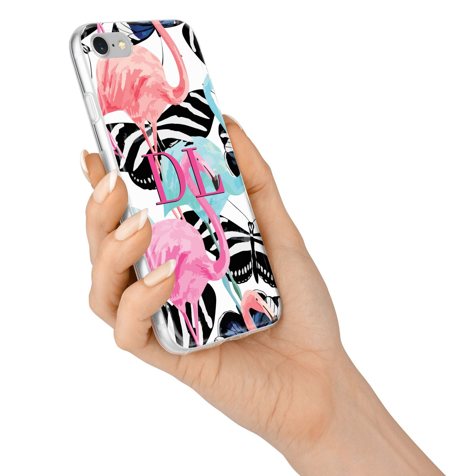 Butterflies Flamingos iPhone 7 Bumper Case on Silver iPhone Alternative Image