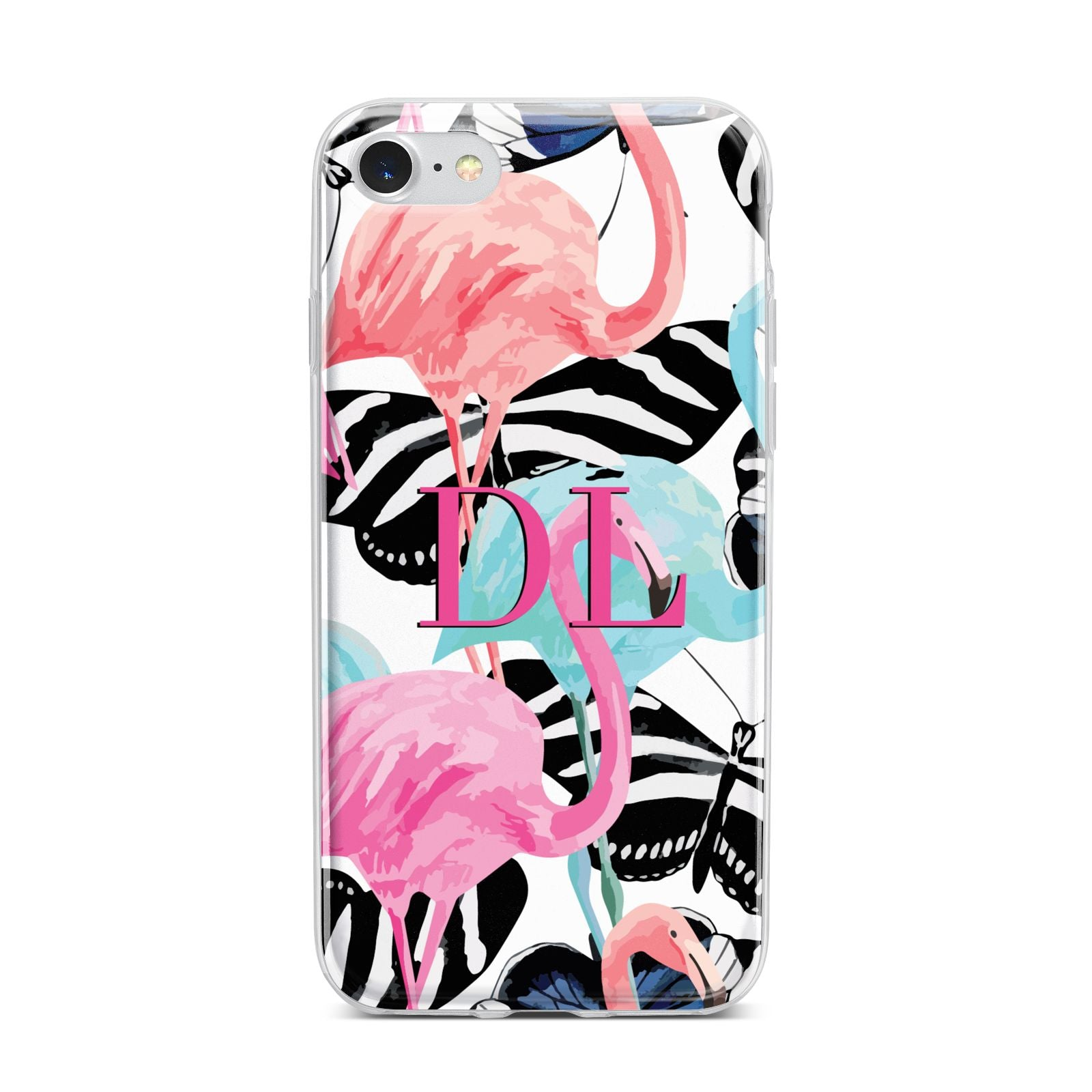 Butterflies Flamingos iPhone 7 Bumper Case on Silver iPhone