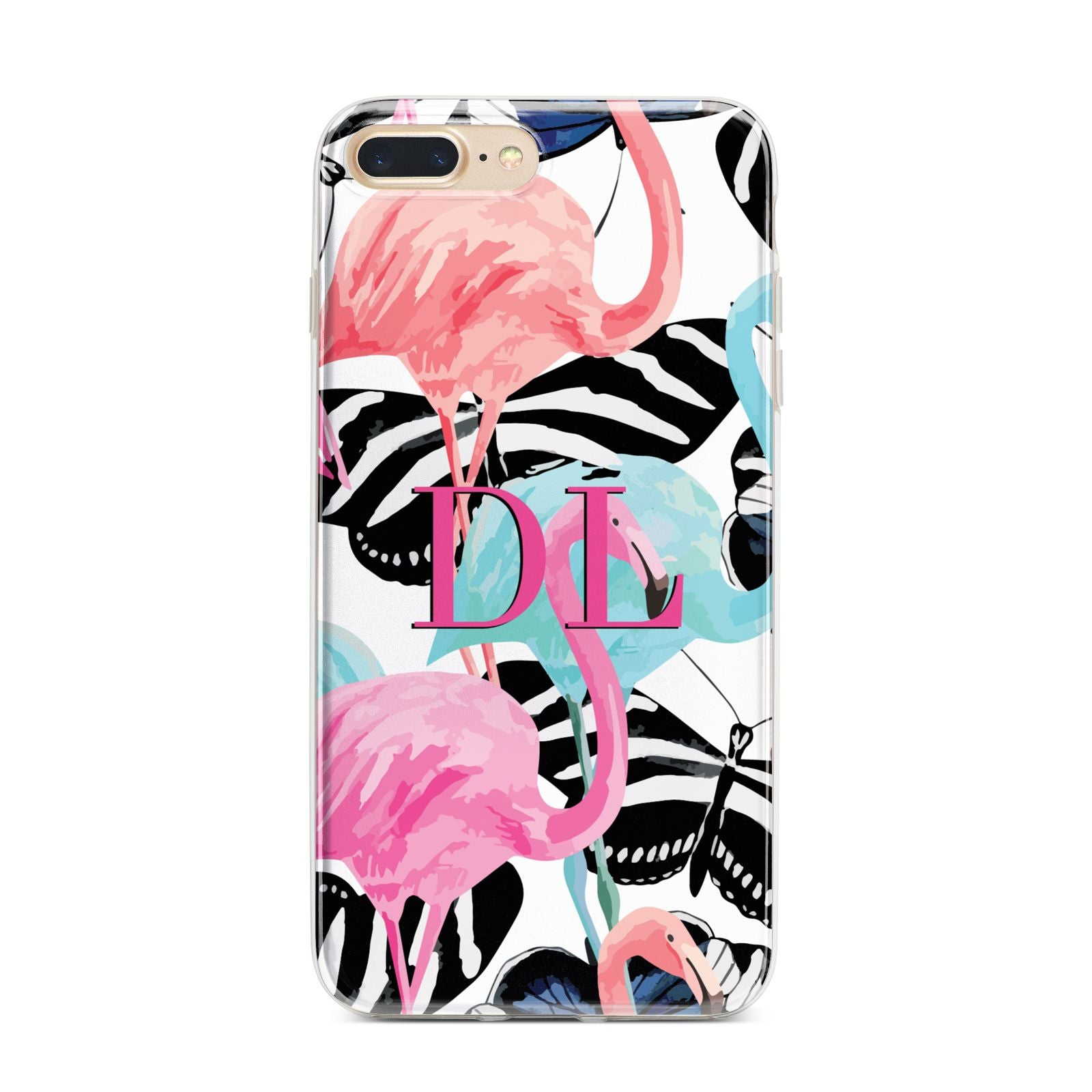 Butterflies Flamingos iPhone 7 Plus Bumper Case on Gold iPhone