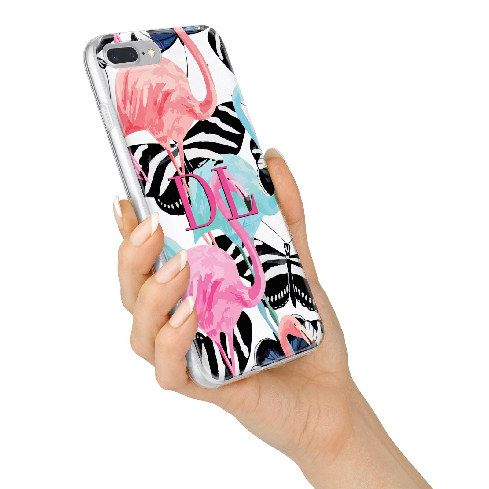 Butterflies Flamingos iPhone 7 Plus Bumper Case on Silver iPhone Alternative Image
