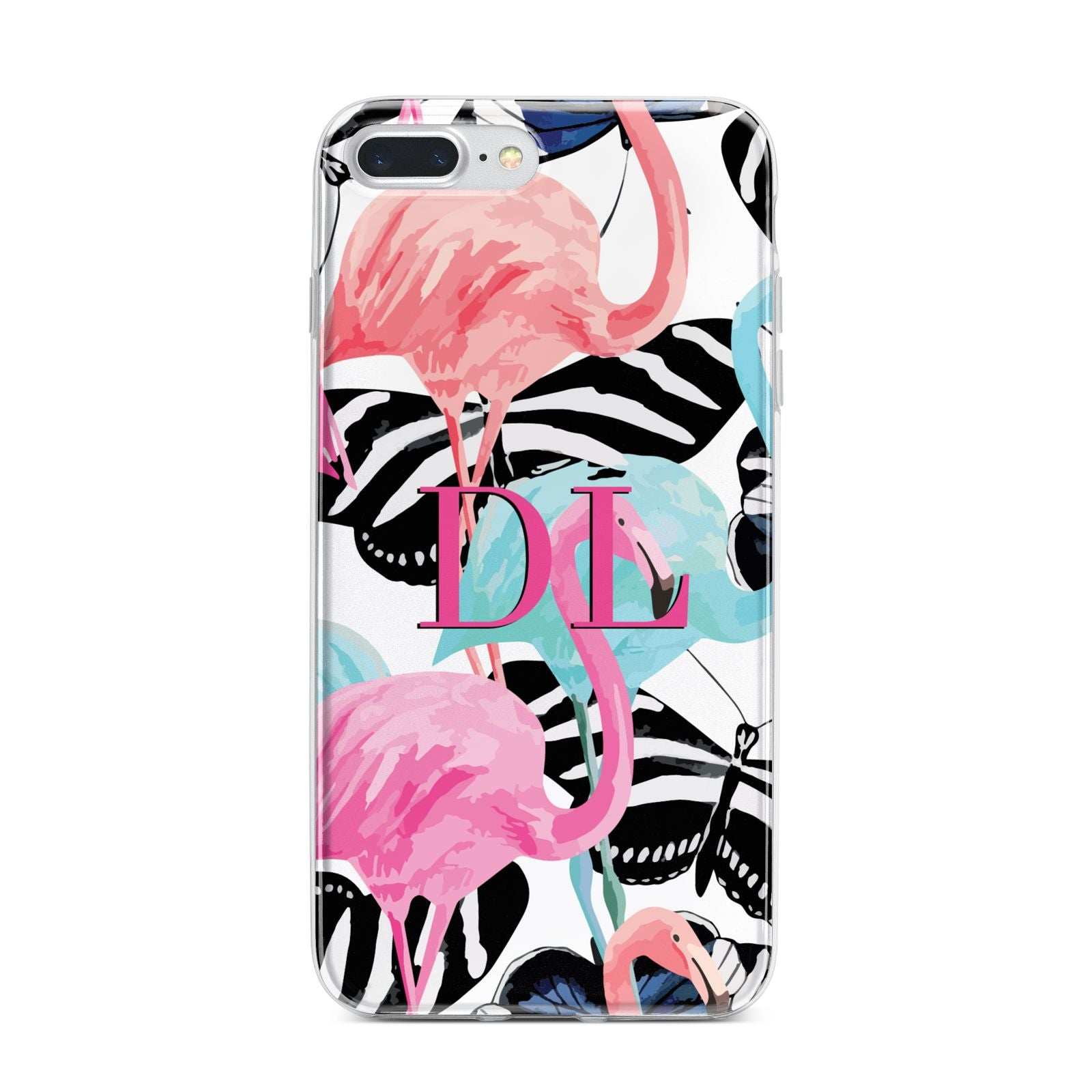 Butterflies Flamingos iPhone 7 Plus Bumper Case on Silver iPhone