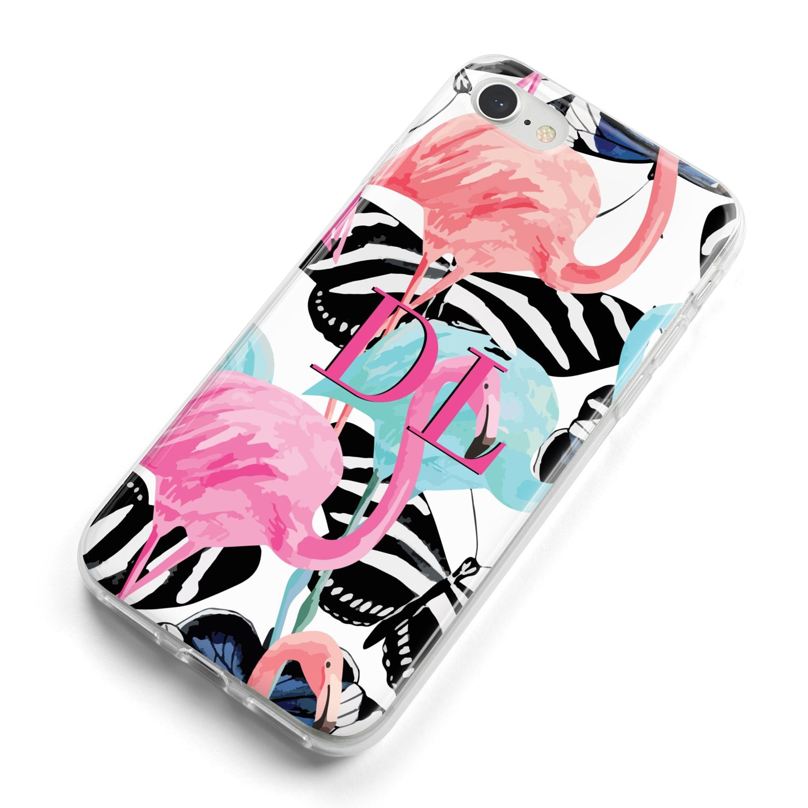 Butterflies Flamingos iPhone 8 Bumper Case on Silver iPhone Alternative Image