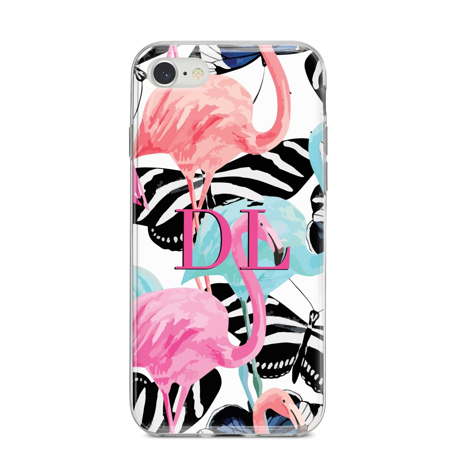 Butterflies Flamingos iPhone 8 Bumper Case on Silver iPhone