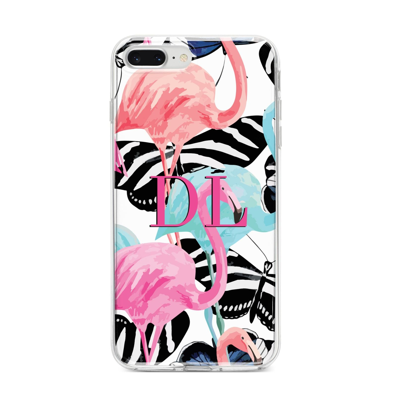 Butterflies Flamingos iPhone 8 Plus Bumper Case on Silver iPhone